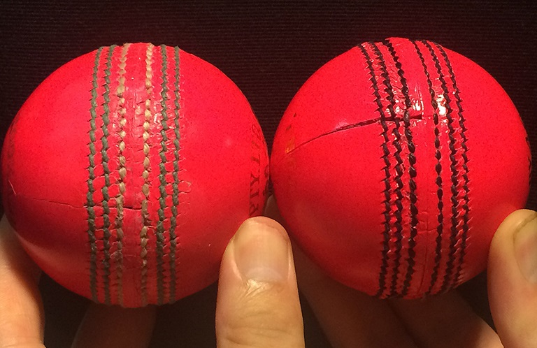 The old pink ball (left) and the new one with a black seam (right) // Getty Images