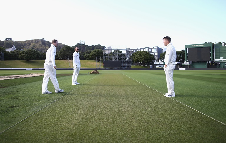 Australian players inspect Basin Reserve pitch in Wellington ahead of first Test
