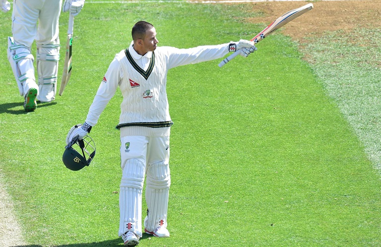 Usman Khawaja celebrates his hundred // Getty Images