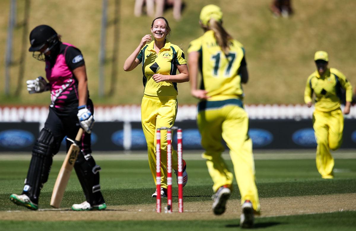 Cheatle celebrates her first international wicket // Getty