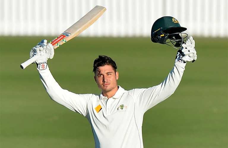 Stoinis celebrates his 100 against South Africa A // Getty