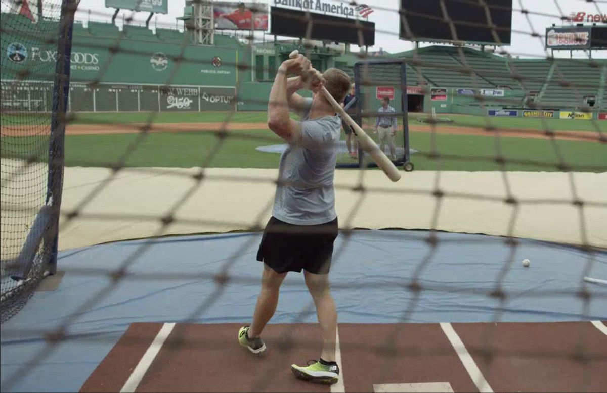 Smith launches one at Fenway Park batting practice // supplied