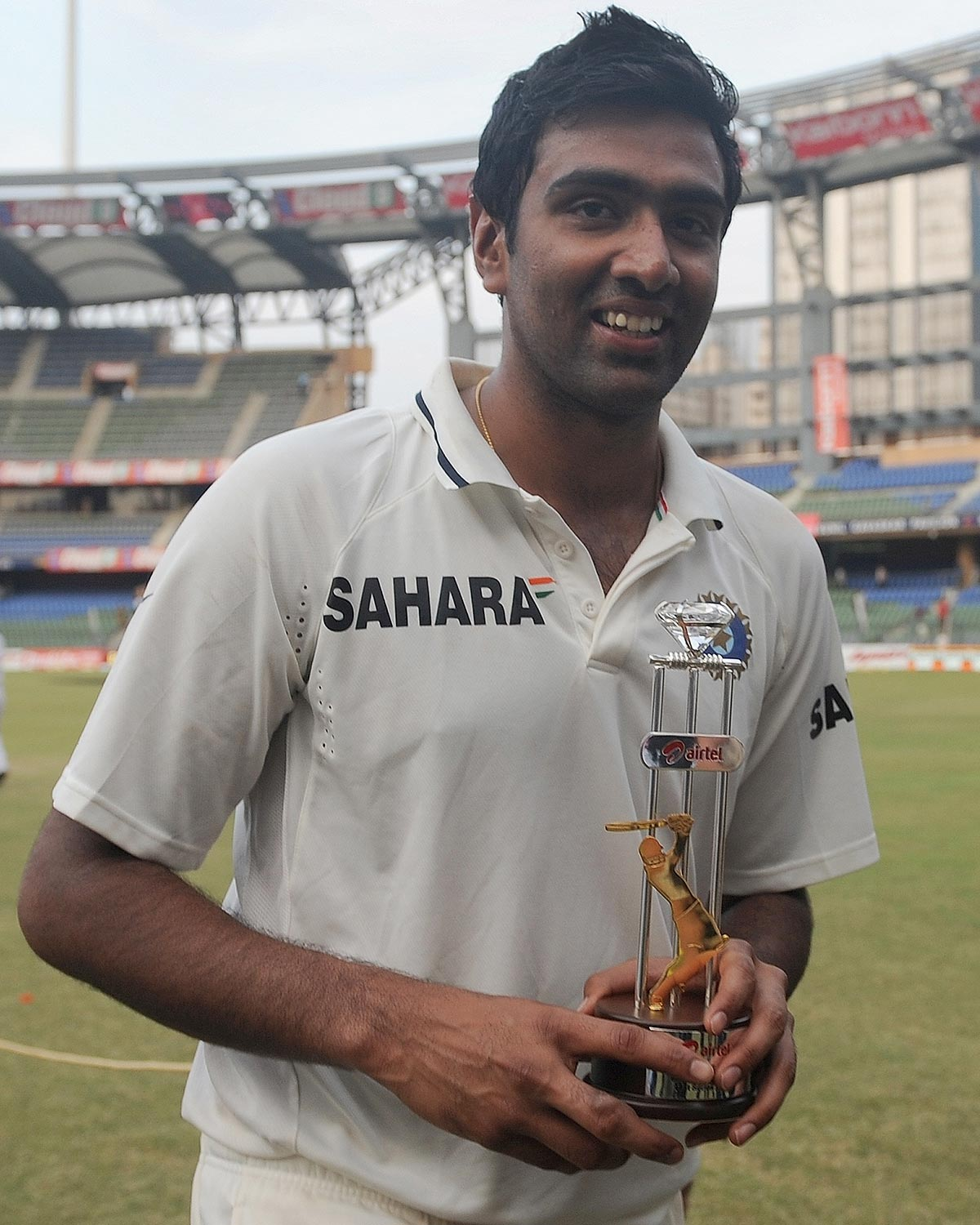 Ashwin with the Player-of-the-Series award in his debut series // Getty