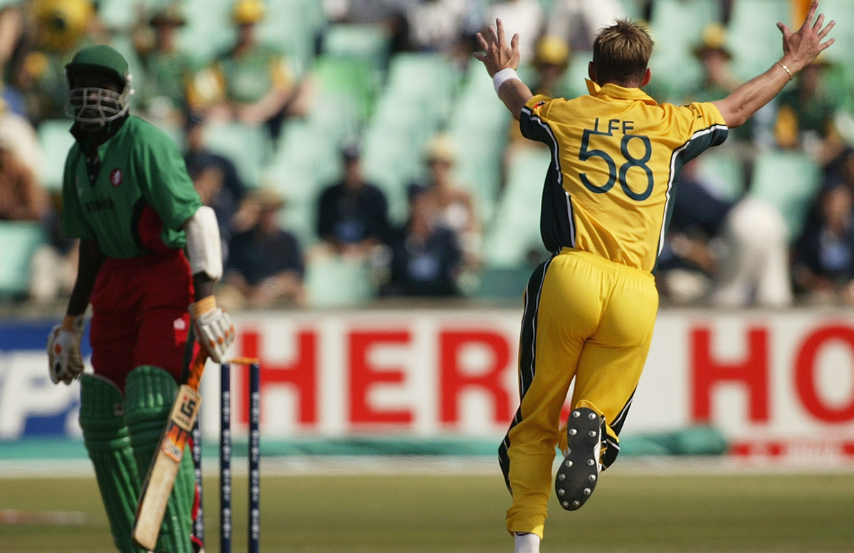 Lee celebrates the third wicket of '03 World Cup hat-trick // Getty