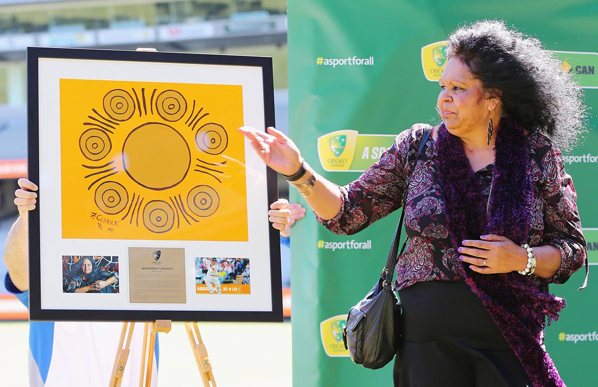 Artist Fiona Clarke explains the significance of her artwork 'Walkabout Wickets'