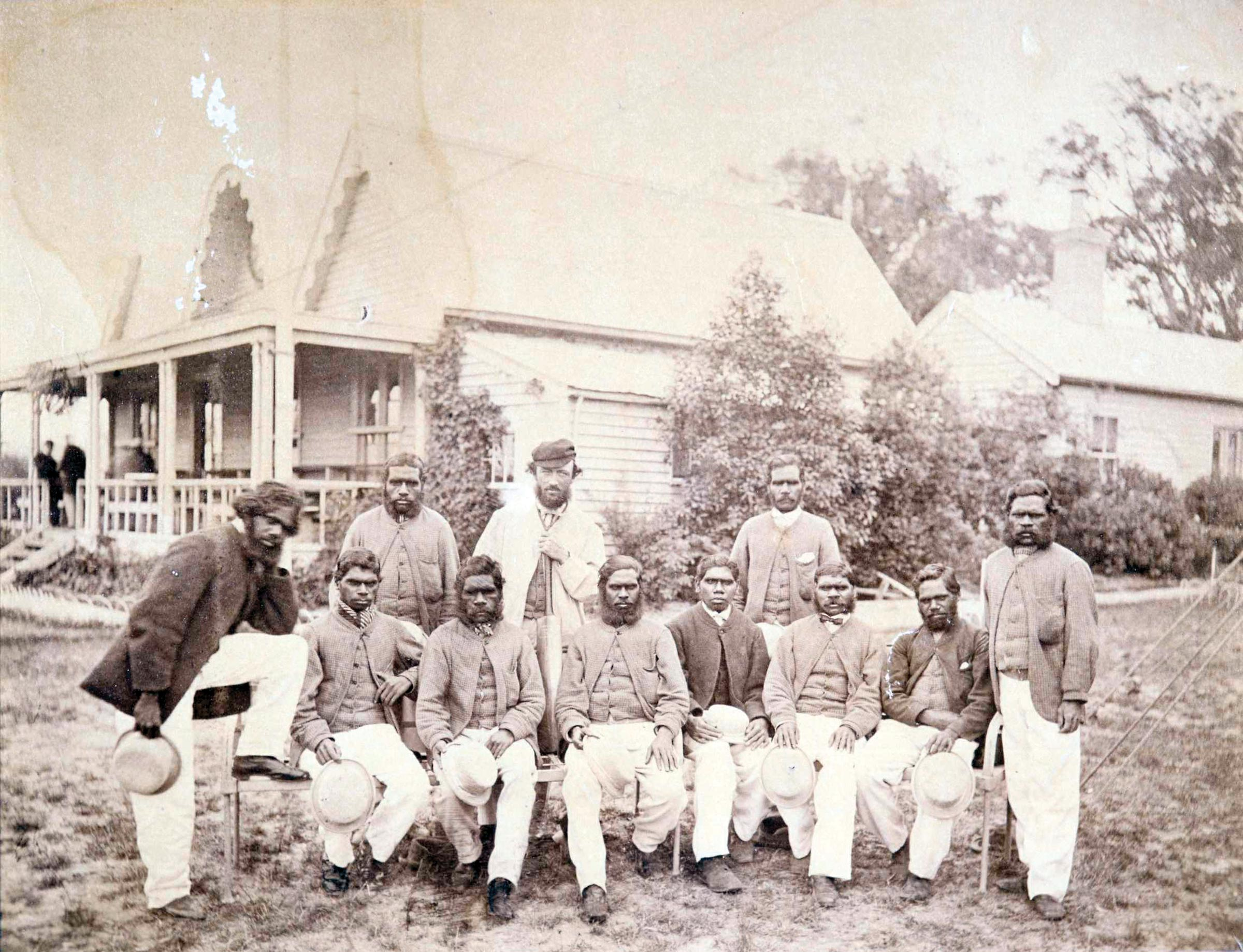 Tom Wills with his team in 1866