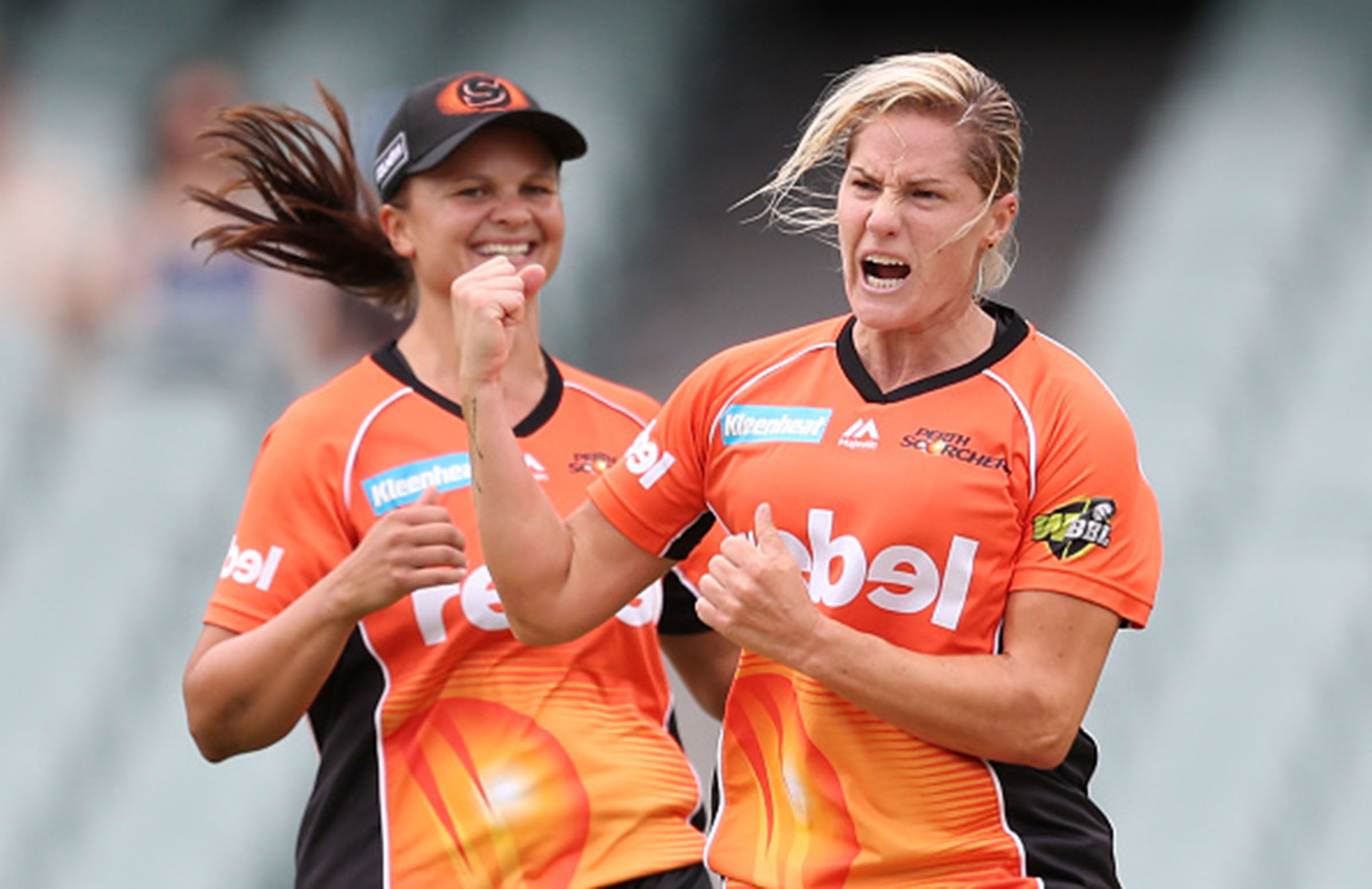 Katherine Brunt (right) has re-signed // Getty