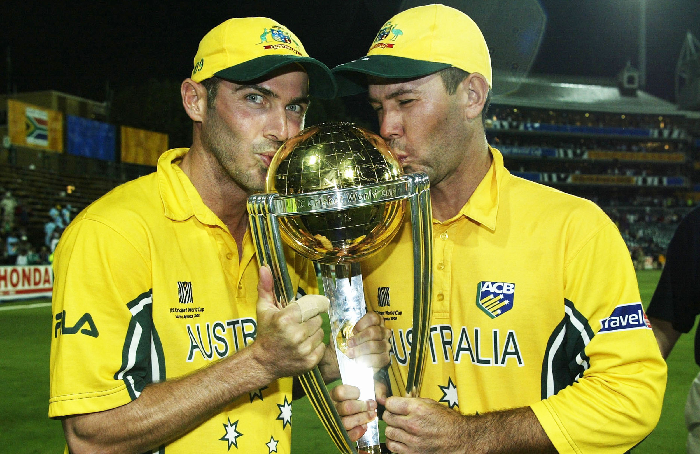 Martyn and Ponting with the 2003 World Cup final spoils // Getty