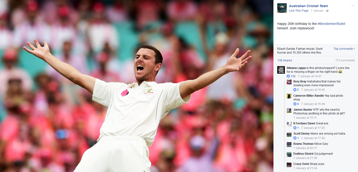 The Facebook post of a four-fingered Hazlewood