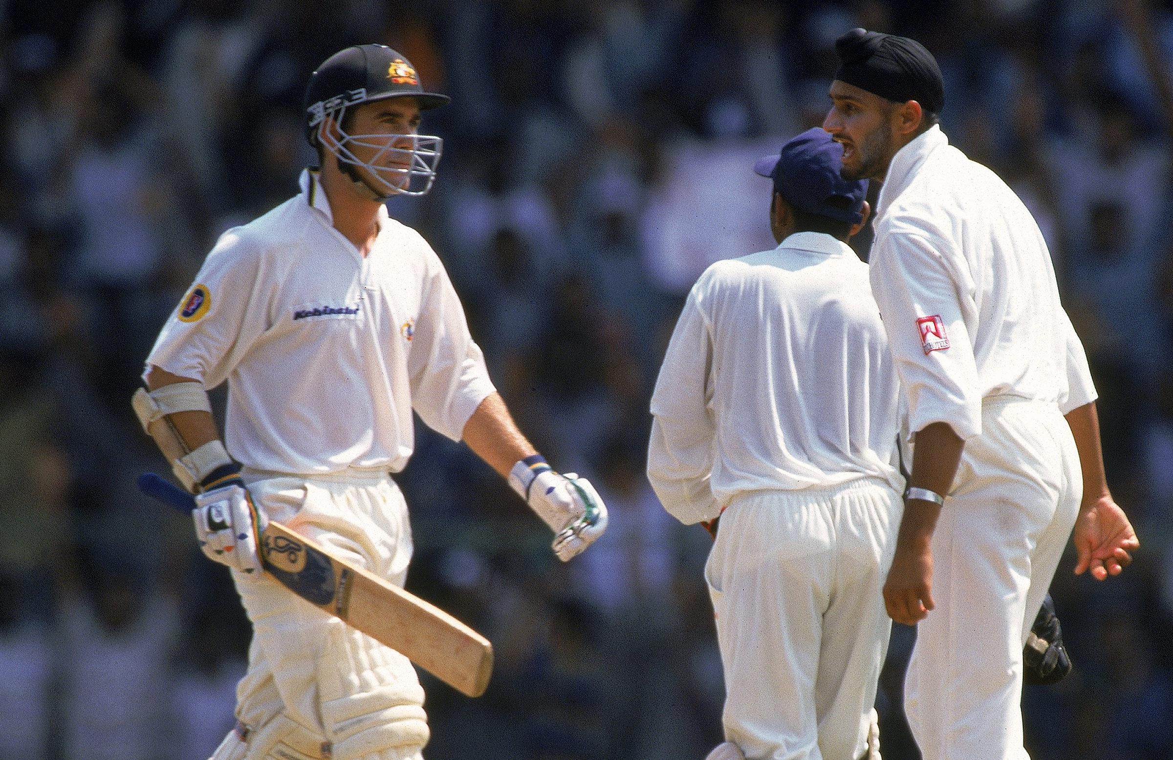 Justin Langer cops a send-off from Harbhajan in 2001 // Getty
