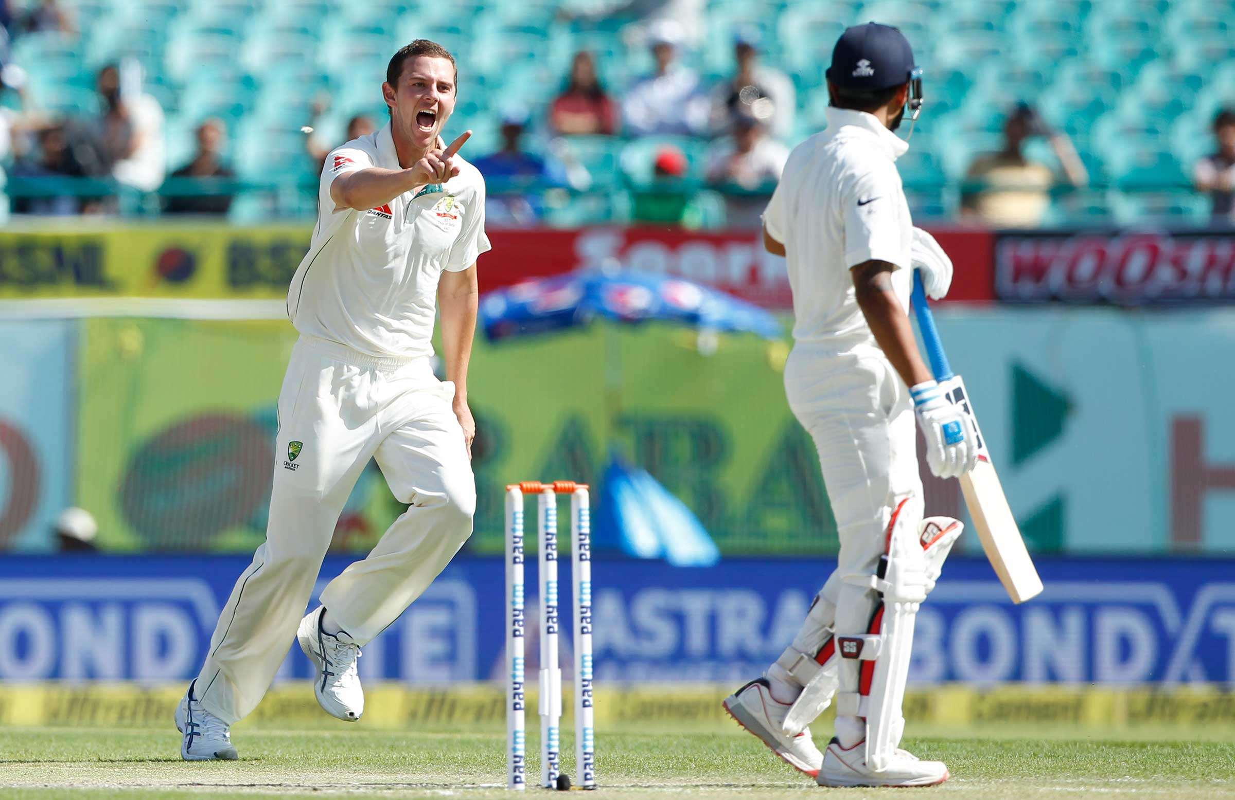 Hazlewood celebrates the wicket of Vijay // BCCI