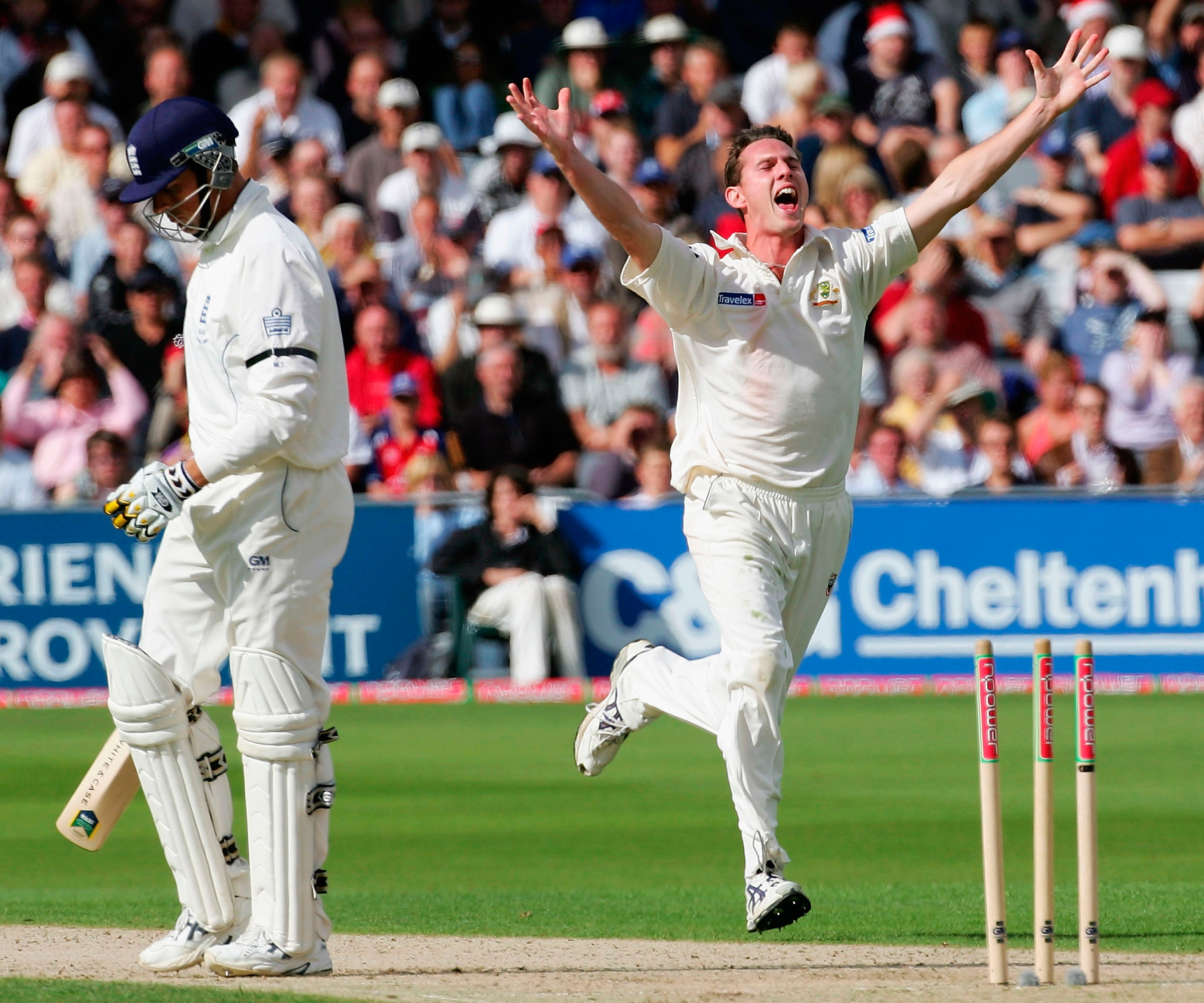 Tait celebrates his first Test wicket, that of Marcus Trescothick in 2005 // Getty
