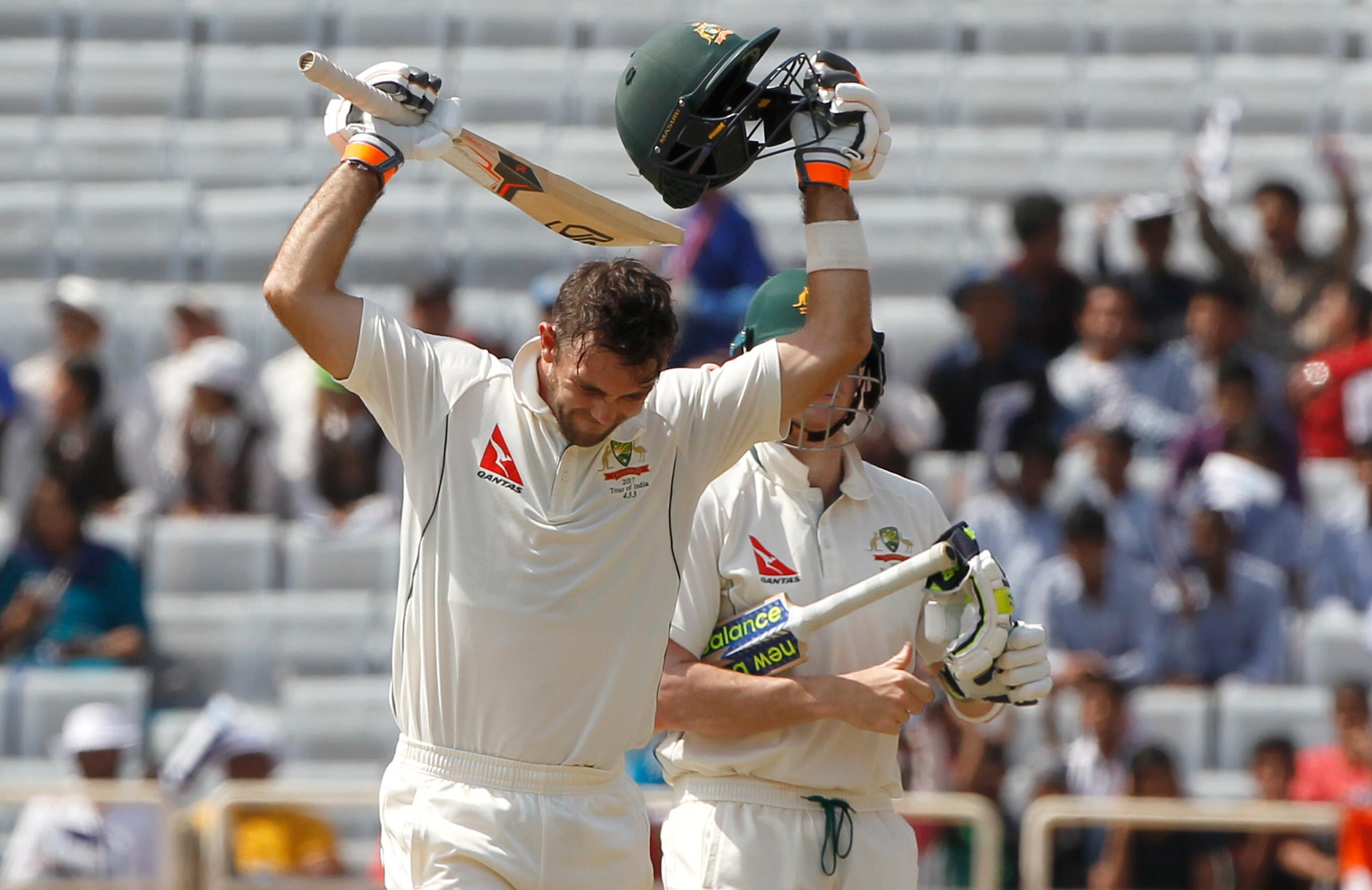 Maxwell celebrates his maiden Test century // Sportzpics