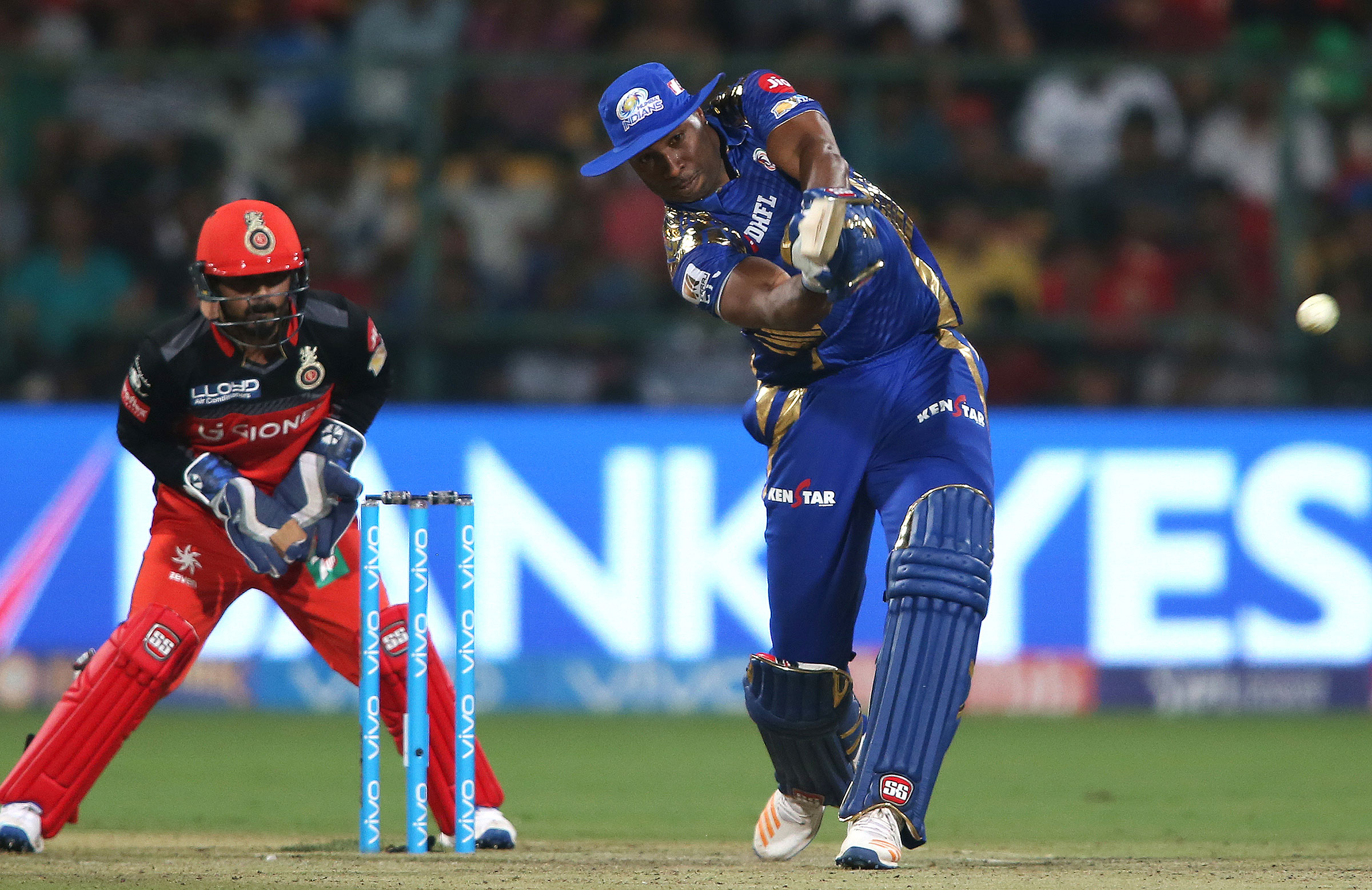 Pollard blasts another six during his match-winning knock against RCB // BCCI