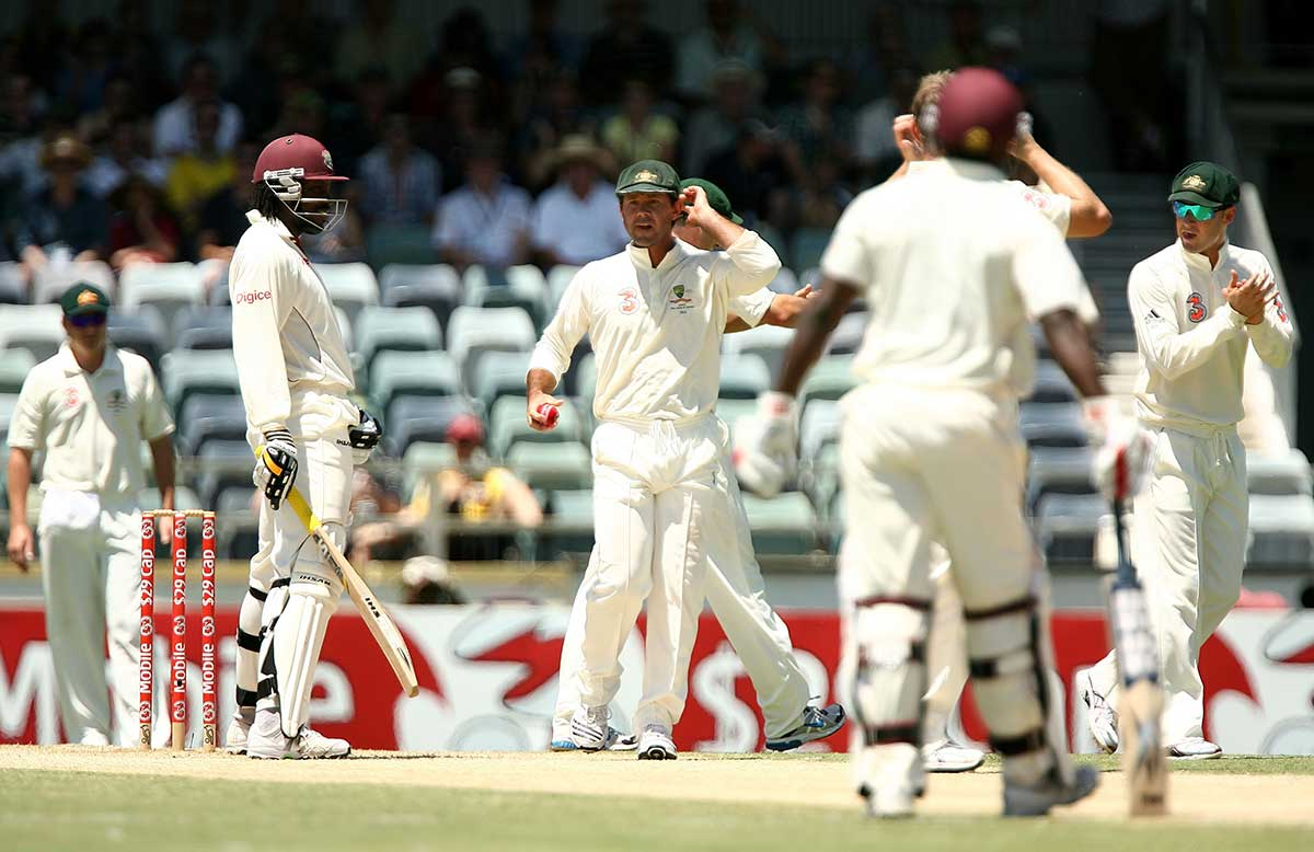 Ponting changes tactics for Gayle during the 2009 WACA Test // Getty