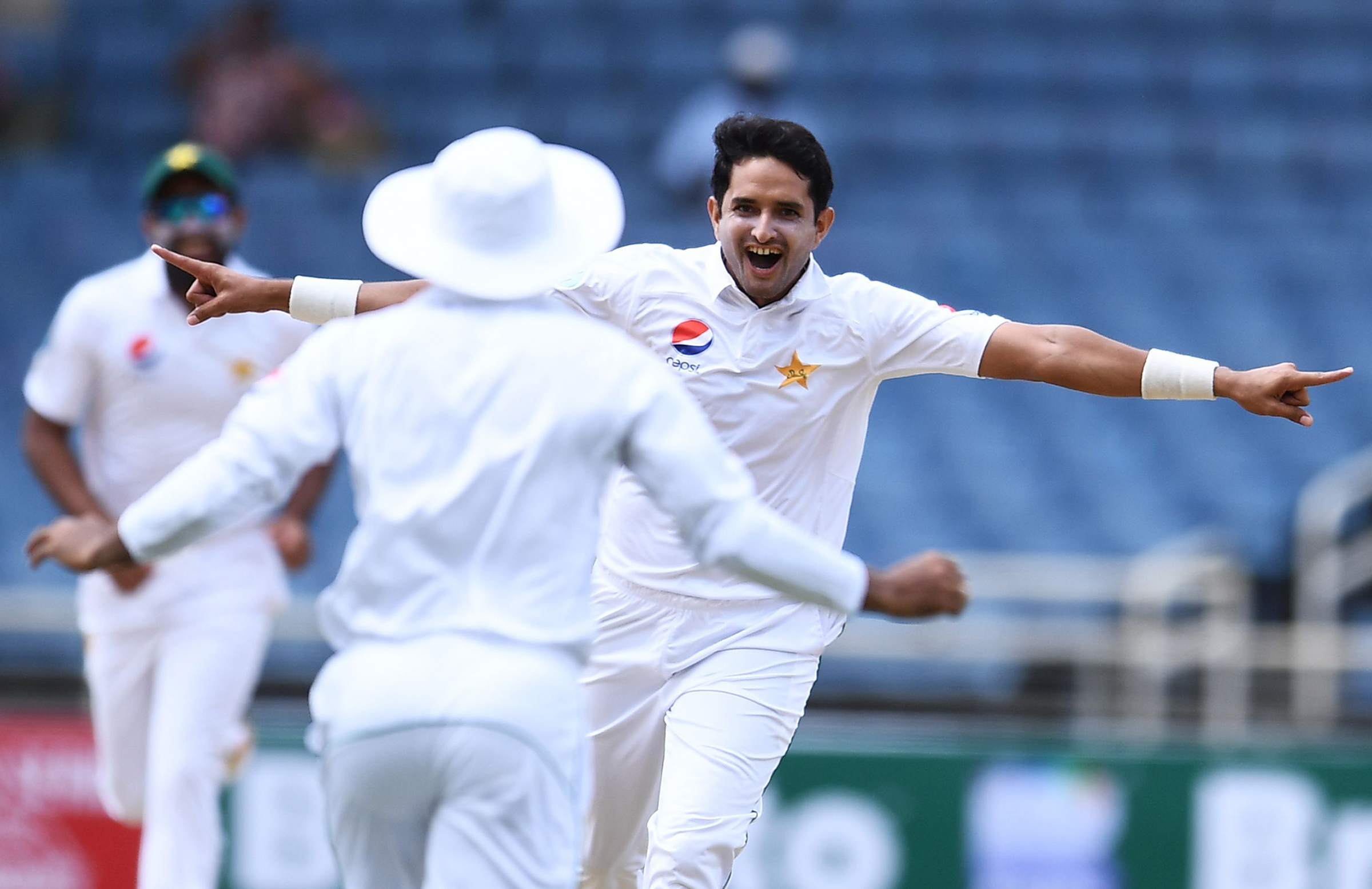 Abbas celebrates a wicket off his second ball in Test cricket // Getty