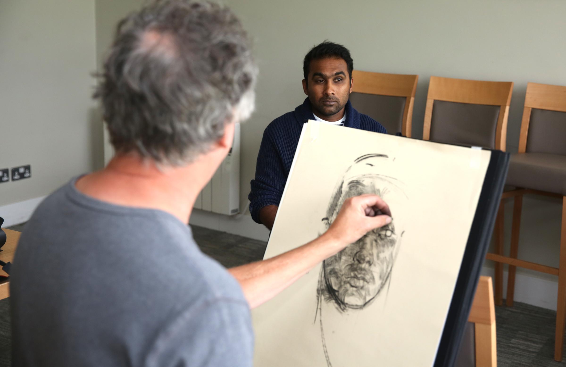 Jayawardena poses for portrait artist Antony Williams // MCC
