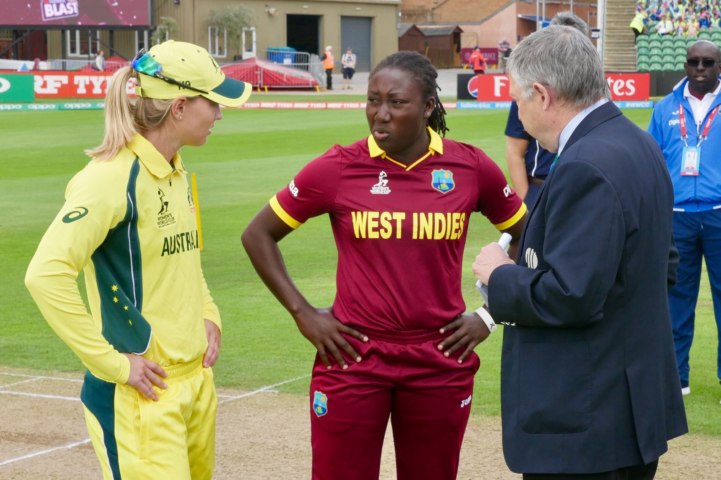 Lanning and Taylor argue the toss with match referee David Jukes // cricket.com.au