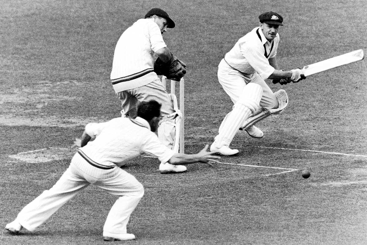 Bradman late cuts past slip in a 1948 Ashes tour match // Getty