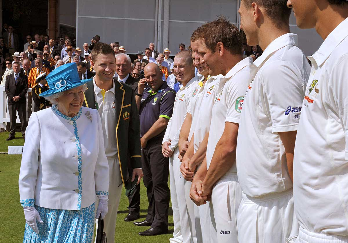 The Queen meets Australia's Ashes tourists at Lord's in 2013 // Getty