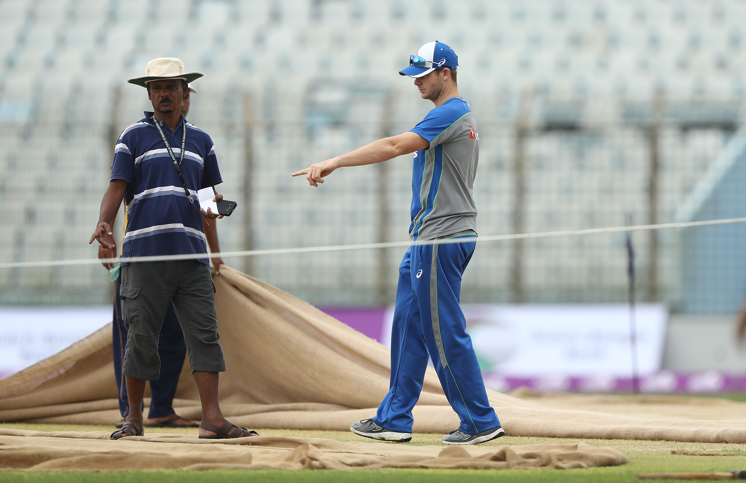 Steve Smith inspects the Chittagong pitches // Getty