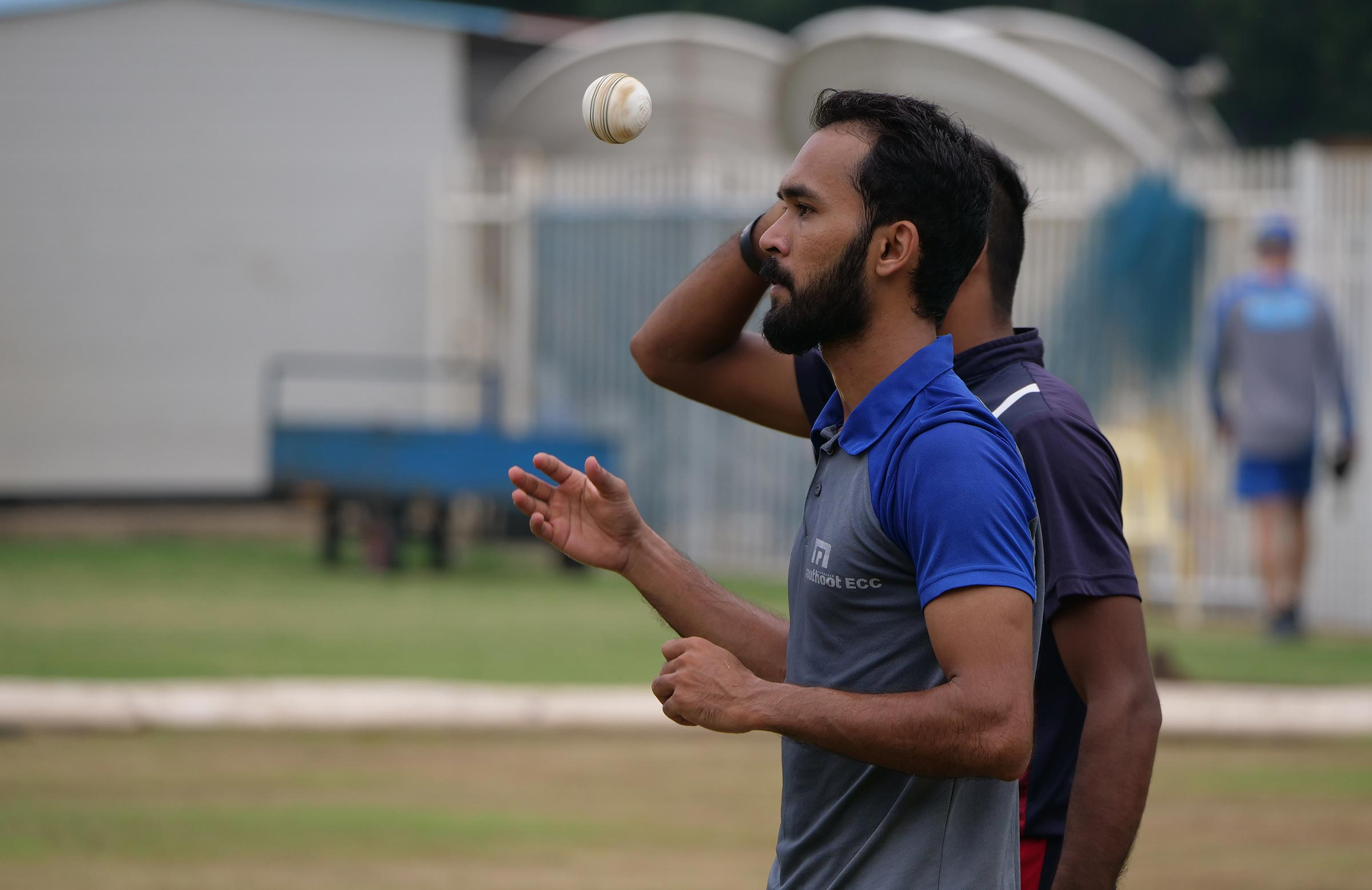 Jiyas prepares to send down a delivery at training in Chennai // cricket.com.au