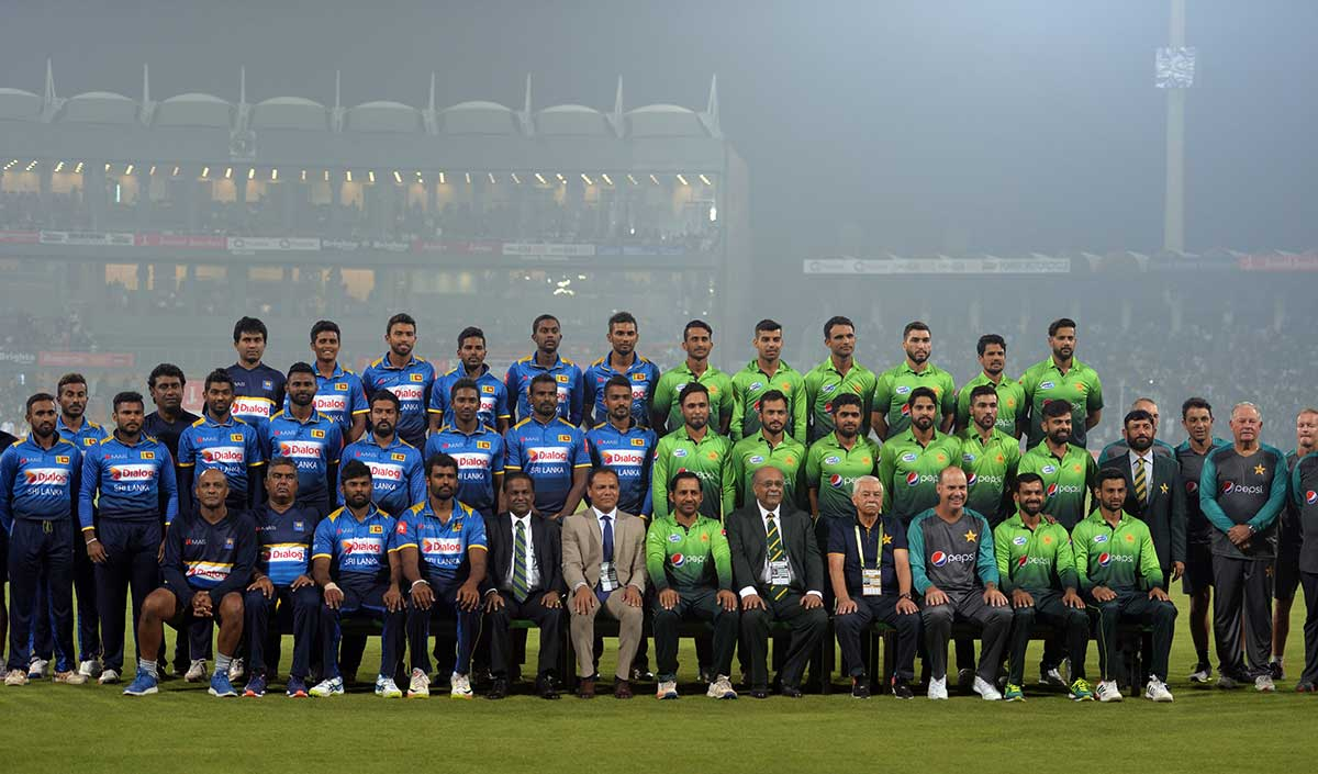 A group photo marked Sri Lanka's return to Gaddafi Stadium // Getty