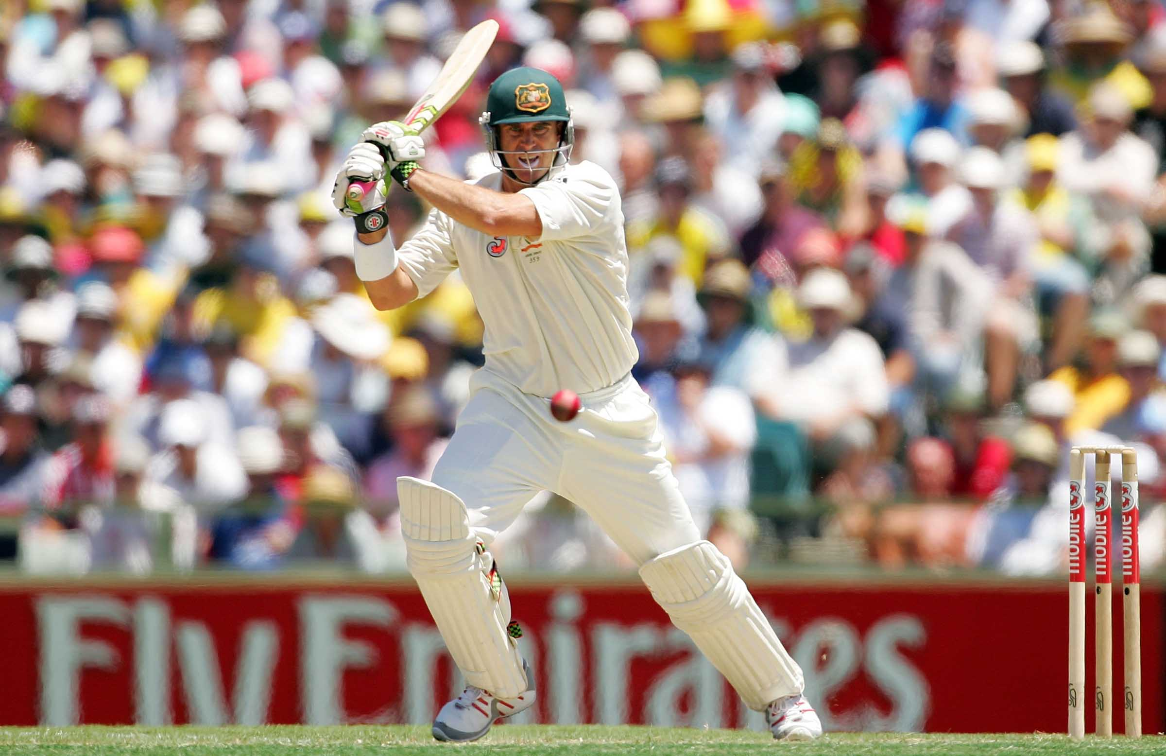 Hayden on the attack during the 2006-07 Ashes // Getty