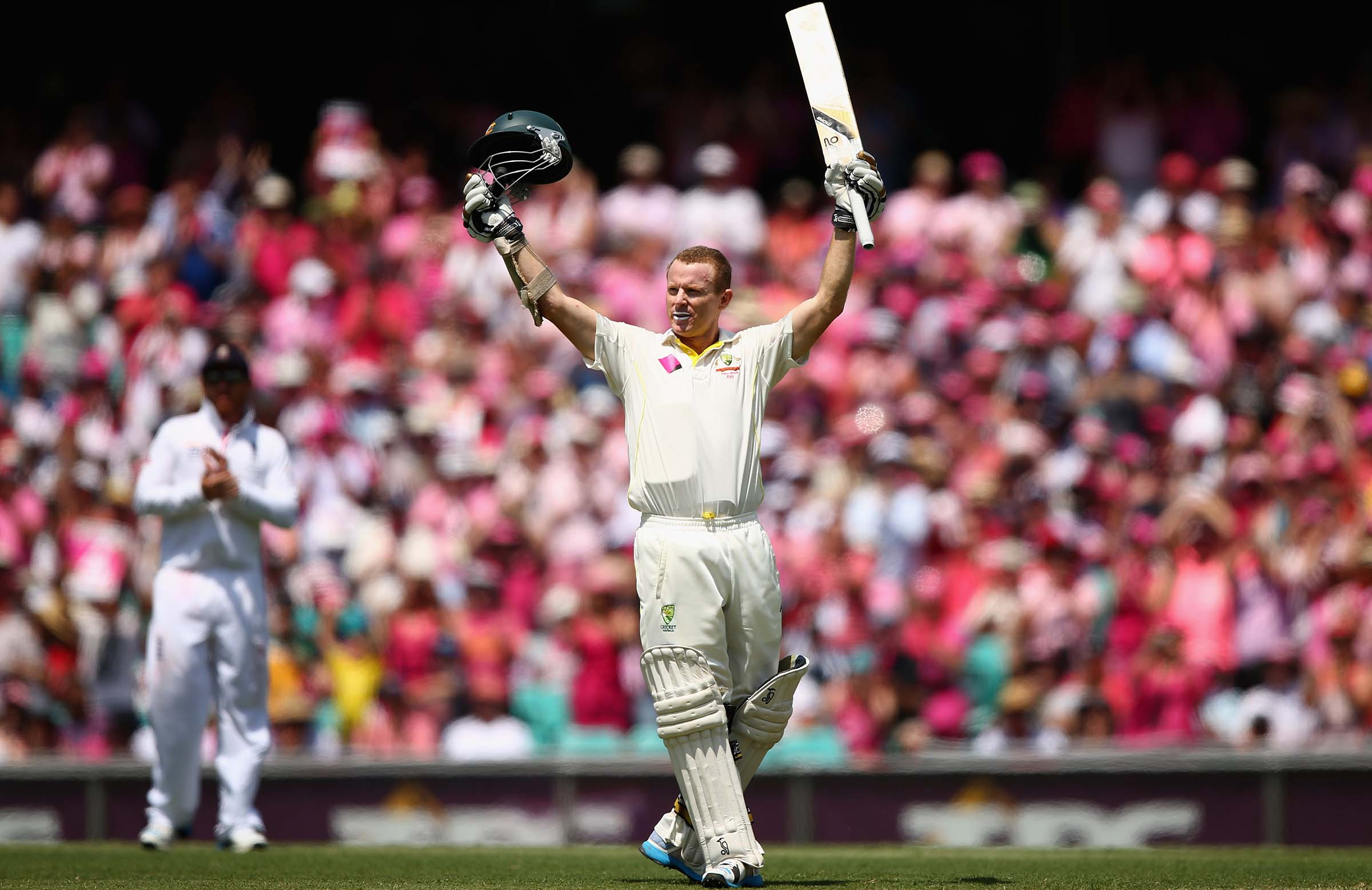Rogers celebrates an Ashes hundred at the SCG, 2014 // Getty