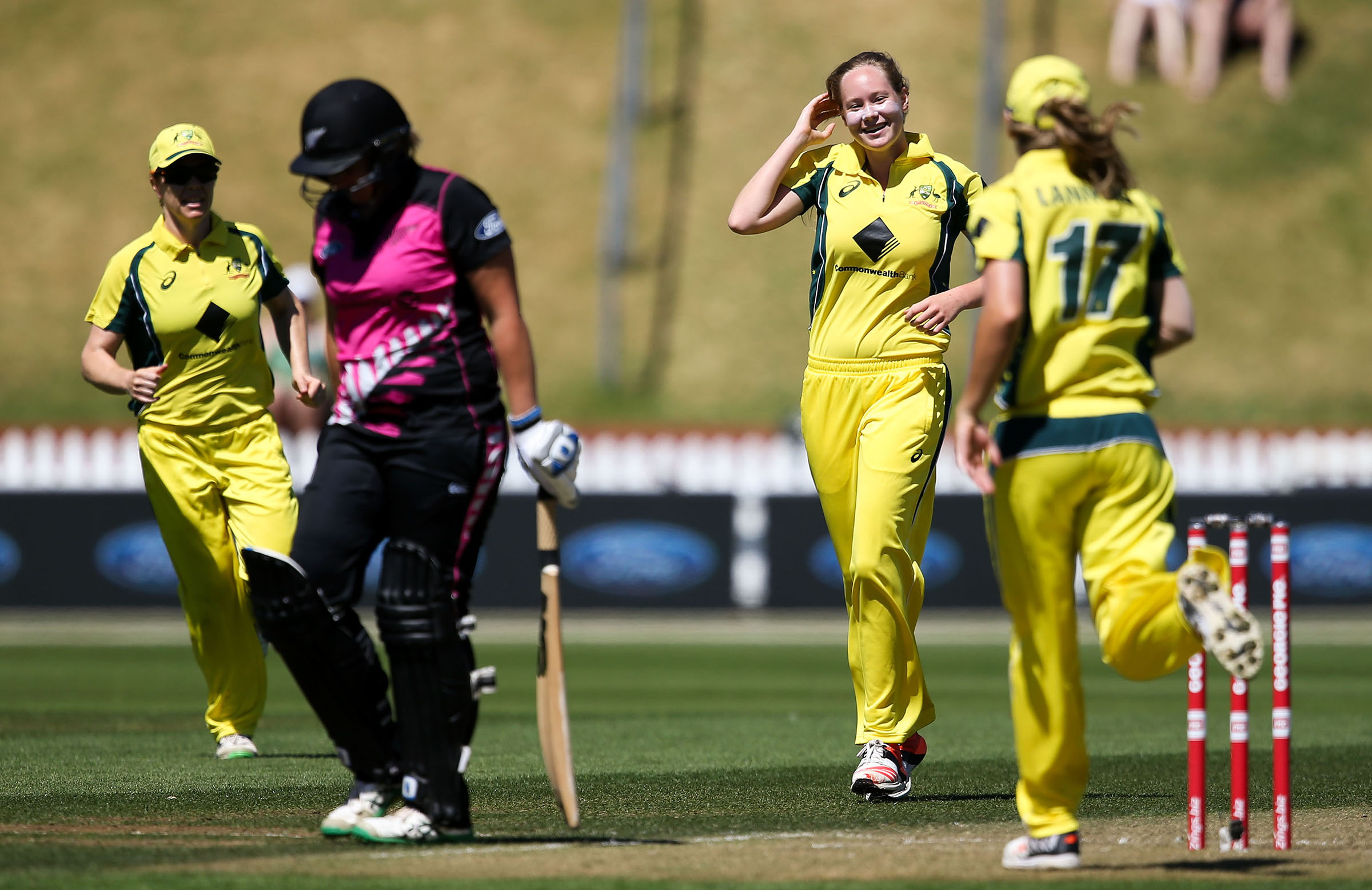 Cheatle celebrates a wicket against New Zealand in 2016 // Getty