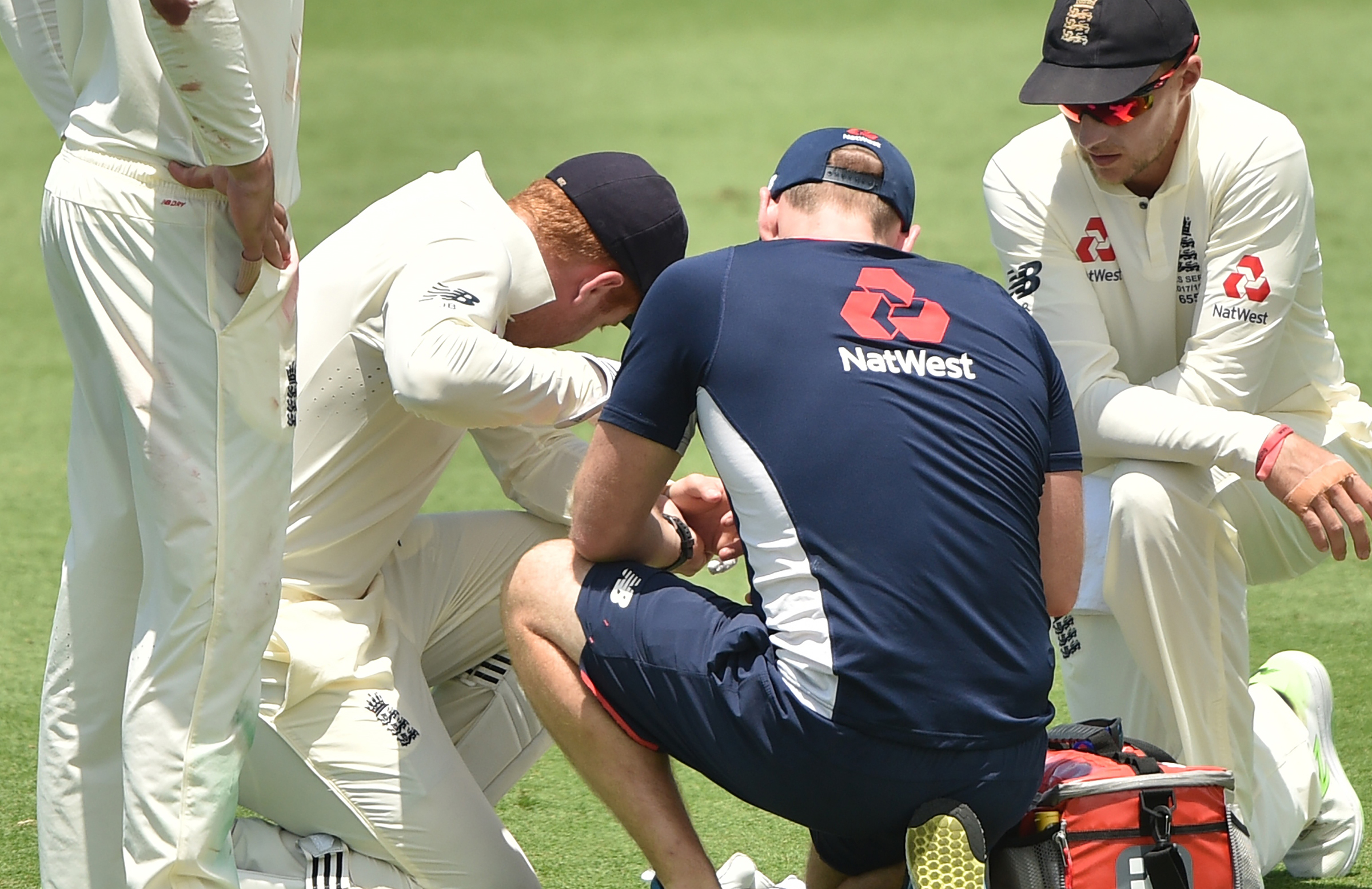 Bairstow receives treatment after the knock // Getty