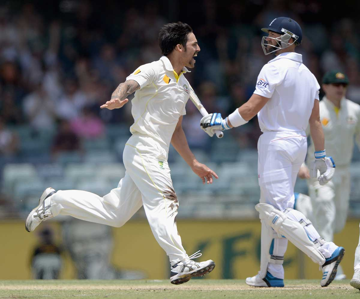 Johnson celebrates the wicket of Prior at the WACA // Getty