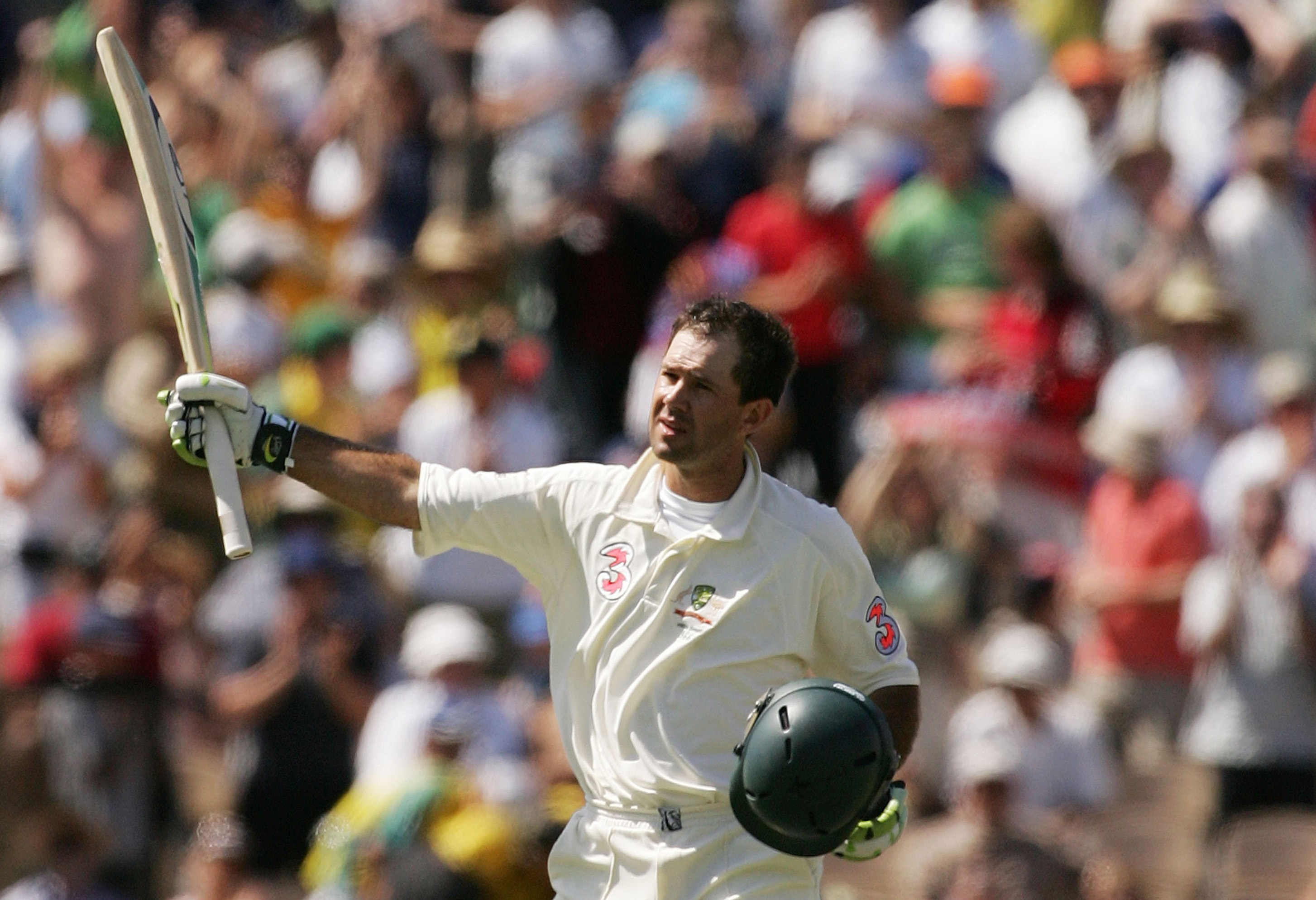 Ricky Ponting acknowledges the crowd after his century in Adelaide in the 2006-07 series // Getty