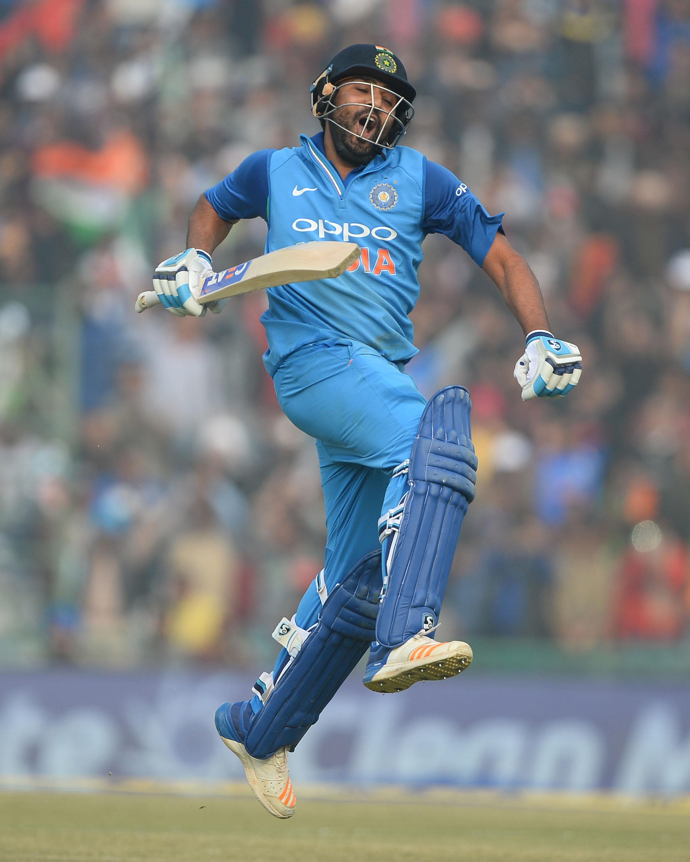 Rohit celebrates his third ODI double century // Getty