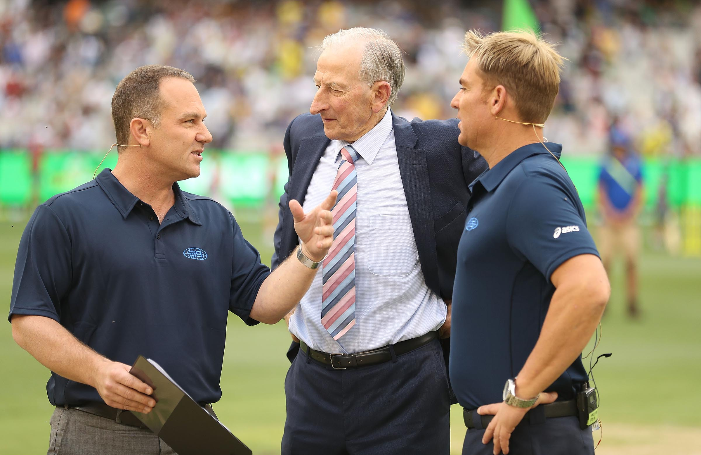 Lawry with the new commentary wave - Michael Slater and Shane Warne \\ Getty