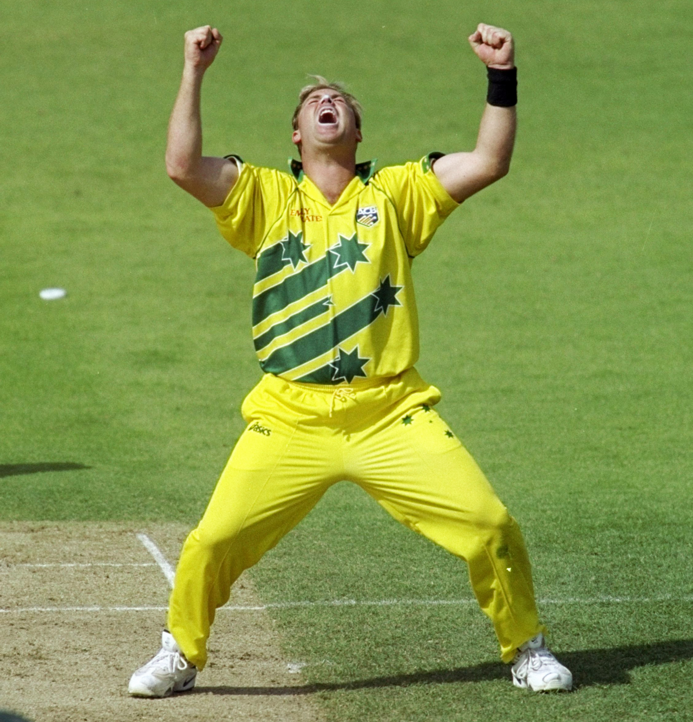 Warne celebrates during his famous spell against South Africa in 1999 // Getty