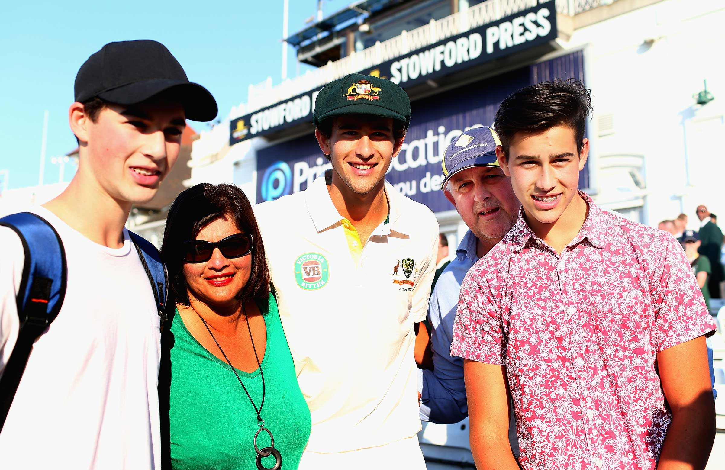 The Agar family at Ashton's Test debut in 2013 // Getty
