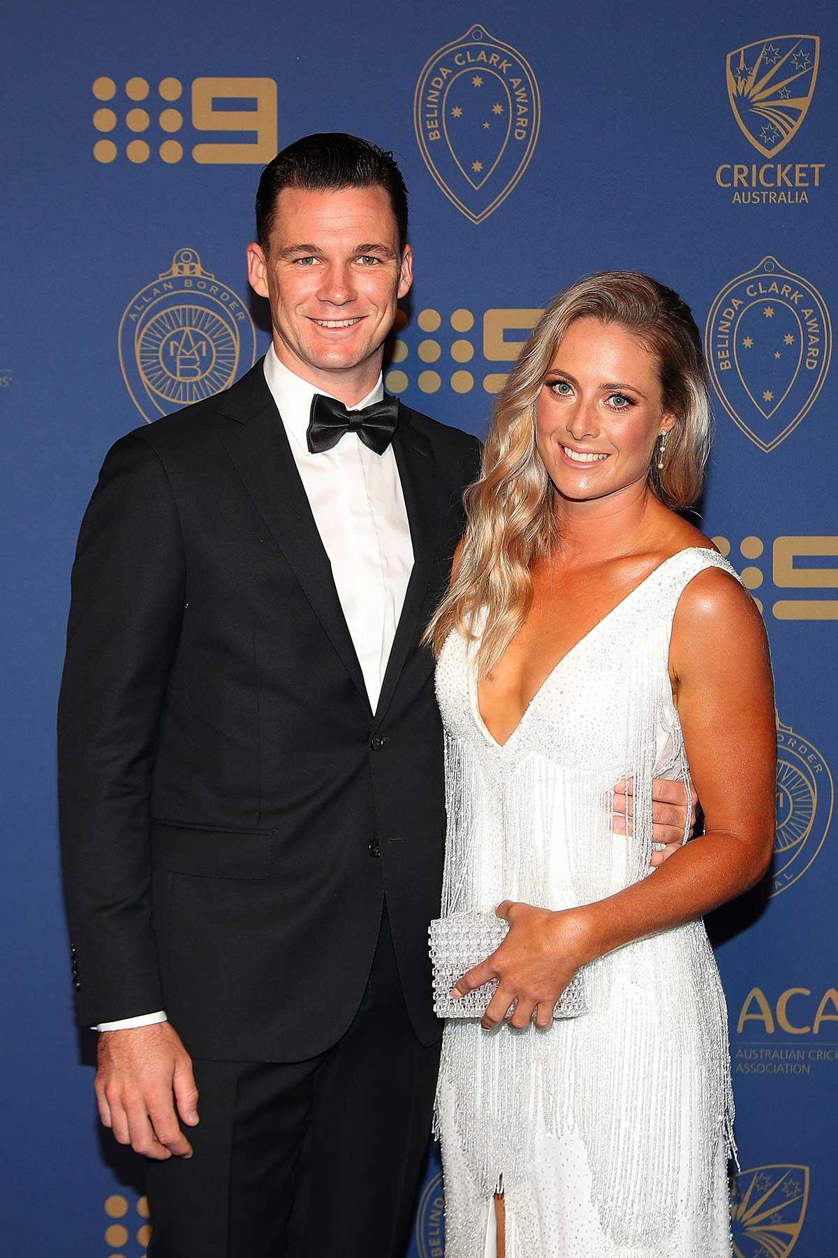 Test batsman Peter Handscomb and Sarah Ray // Getty