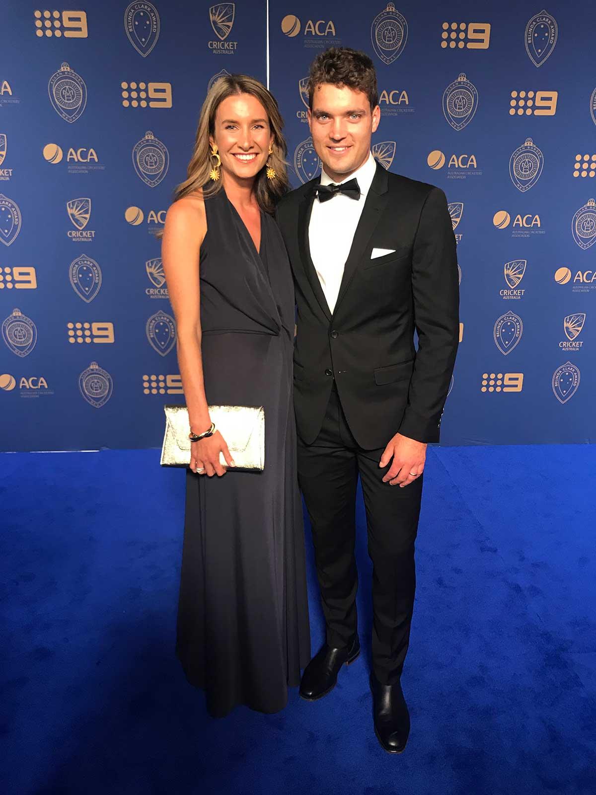 Wicketkeeper Alex Carey and wife Eloise // cricket.com.au