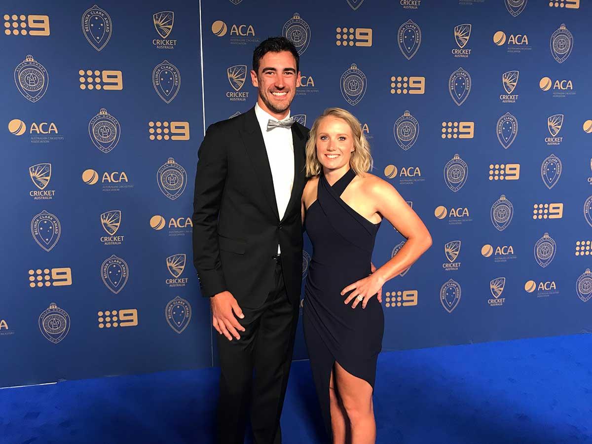 Mitch Starc and wife Alyssa Healy // cricket.com.au