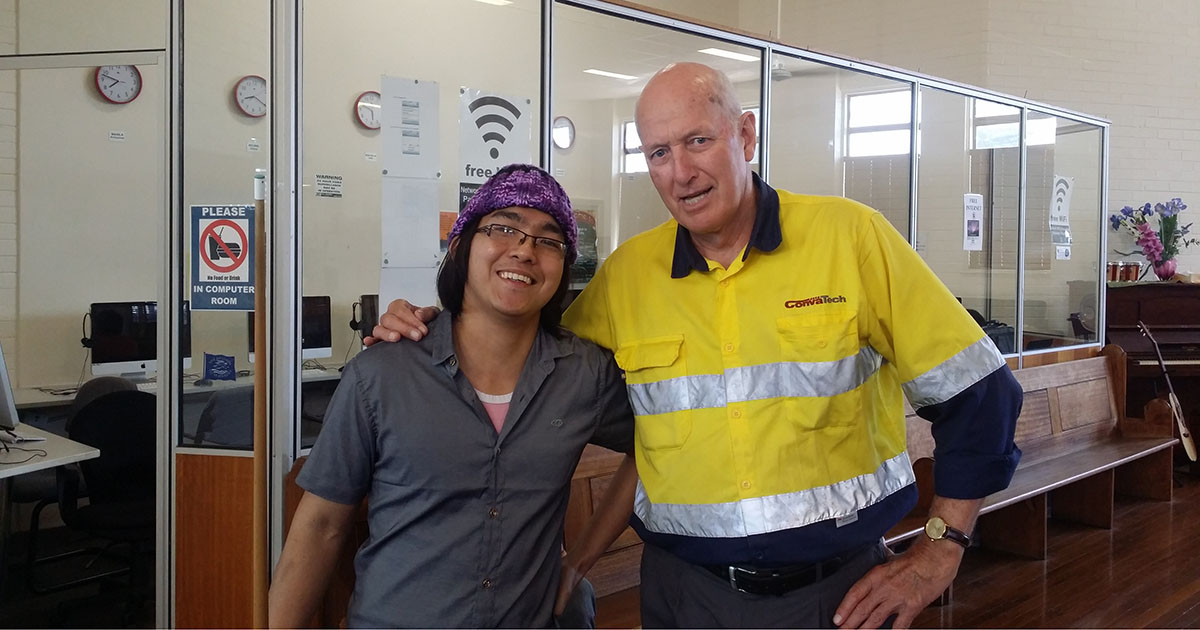 McCosker with a seafarer at the Newcastle Mission Centre