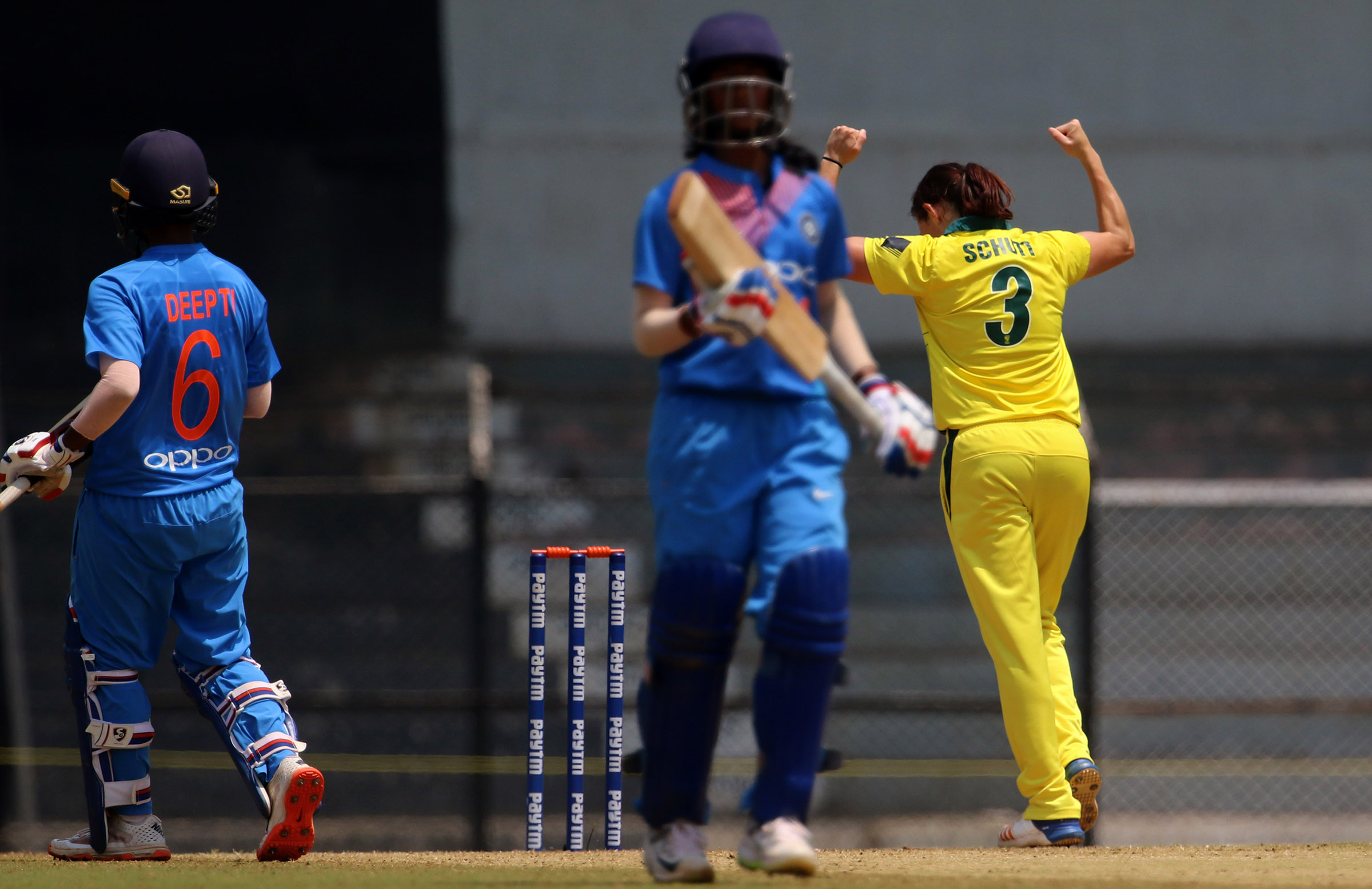 Schutt collects her hat-trick // BCCI