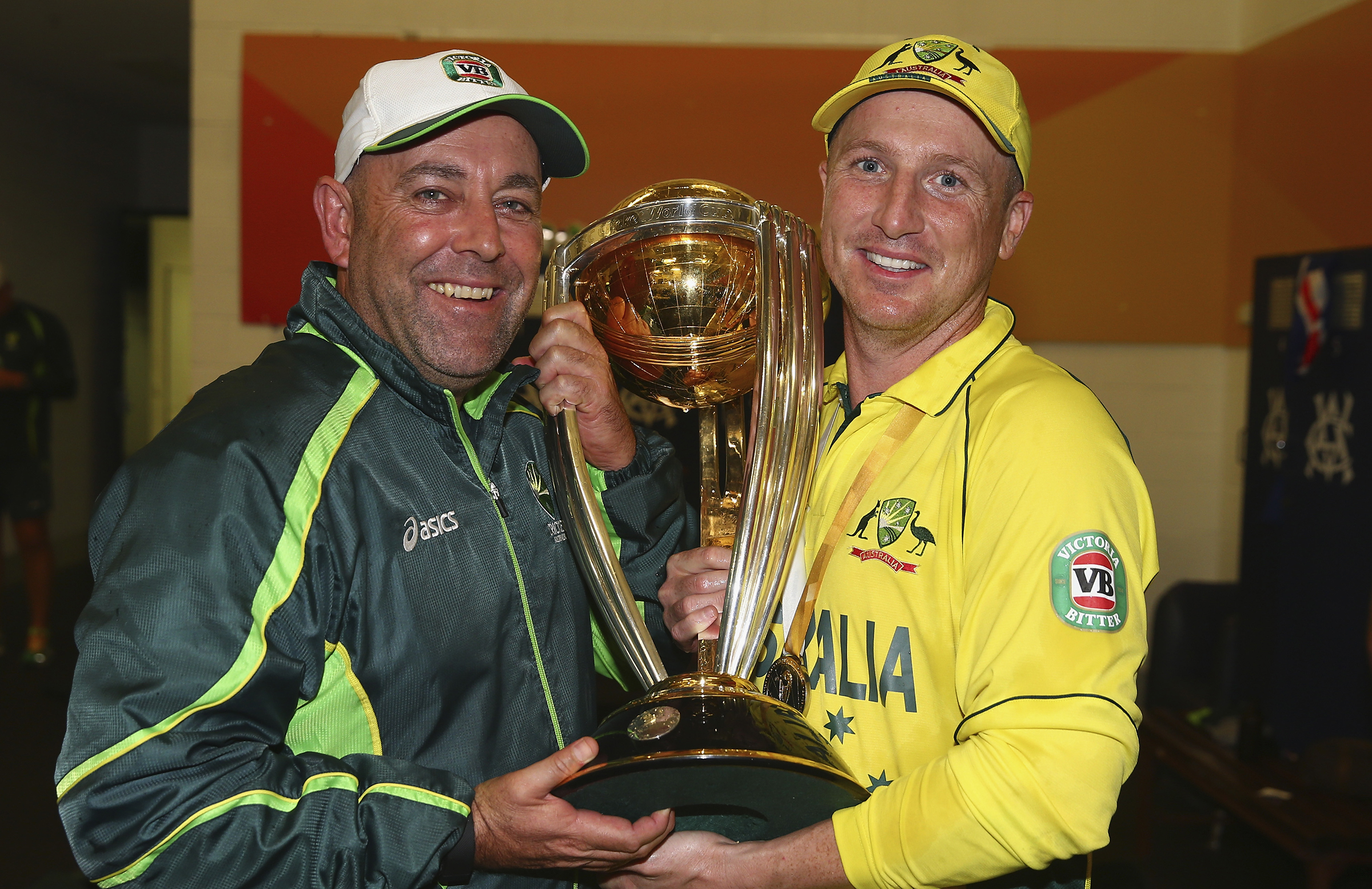 Lehmann with Brad Haddin and the World Cup // Getty