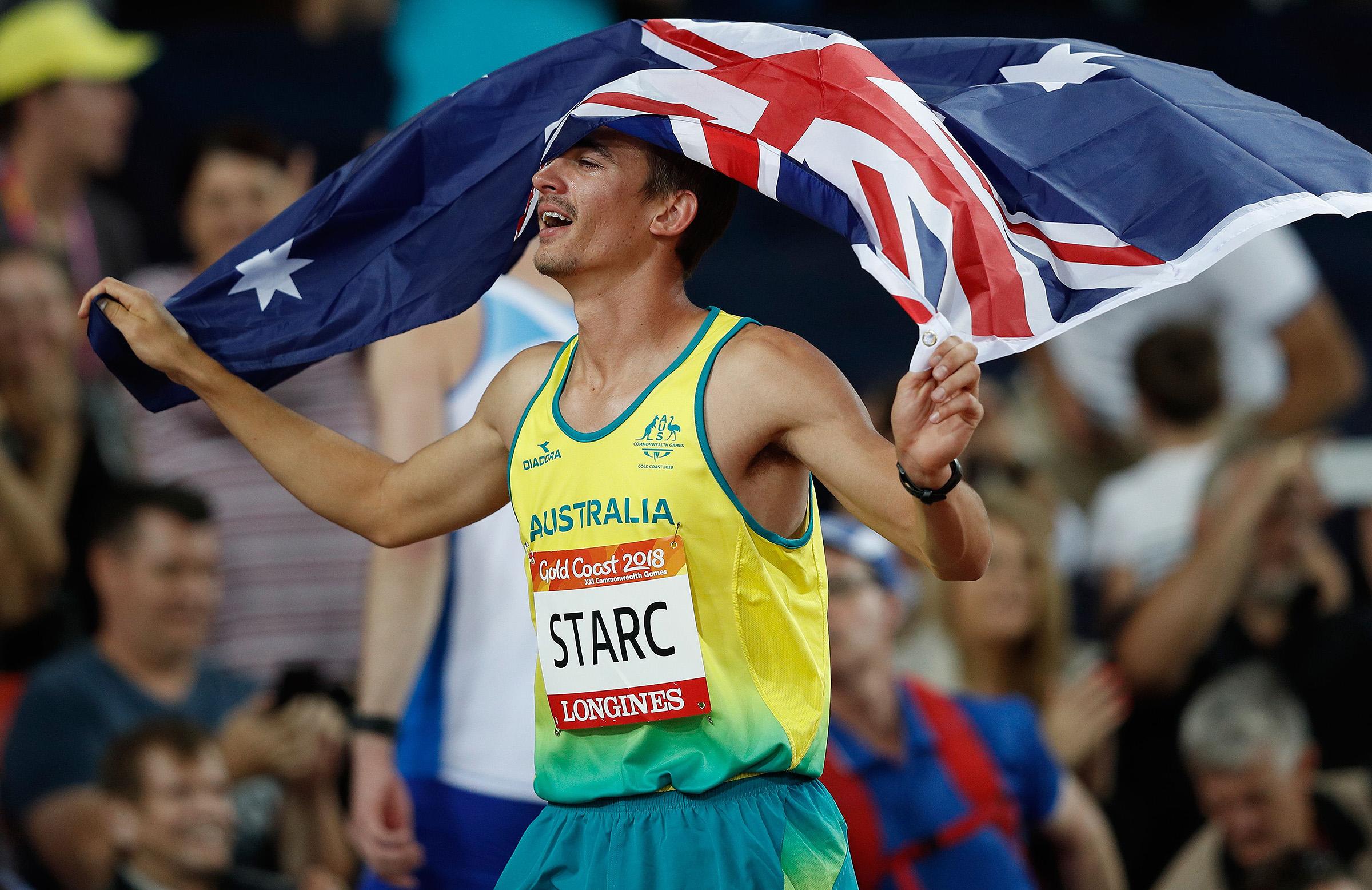 Brandon Starc celebrates his gold medal on Wednesday night // Getty