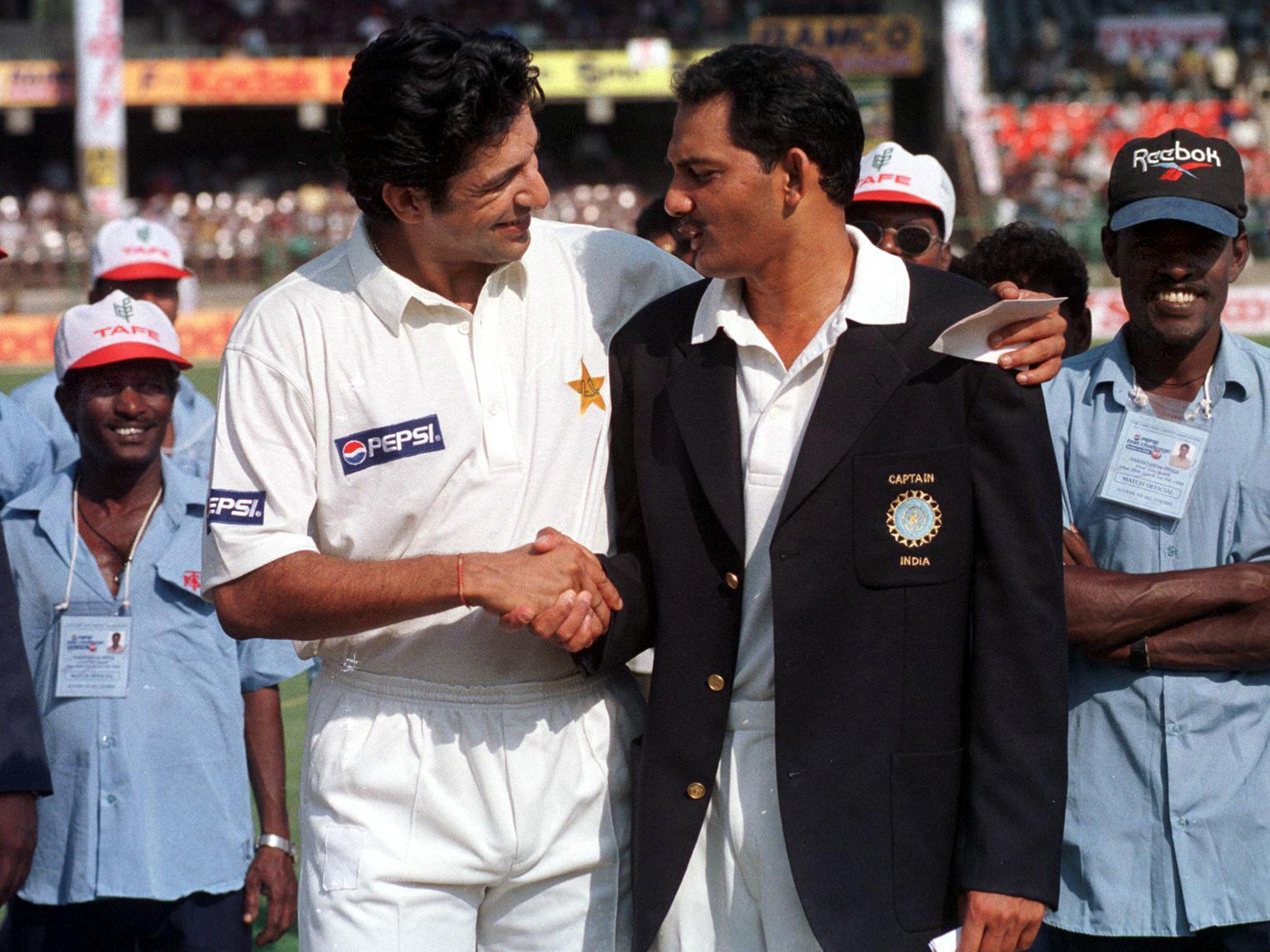 Rival skippers Wasim Akram and Mohammad Azharuddin // Getty