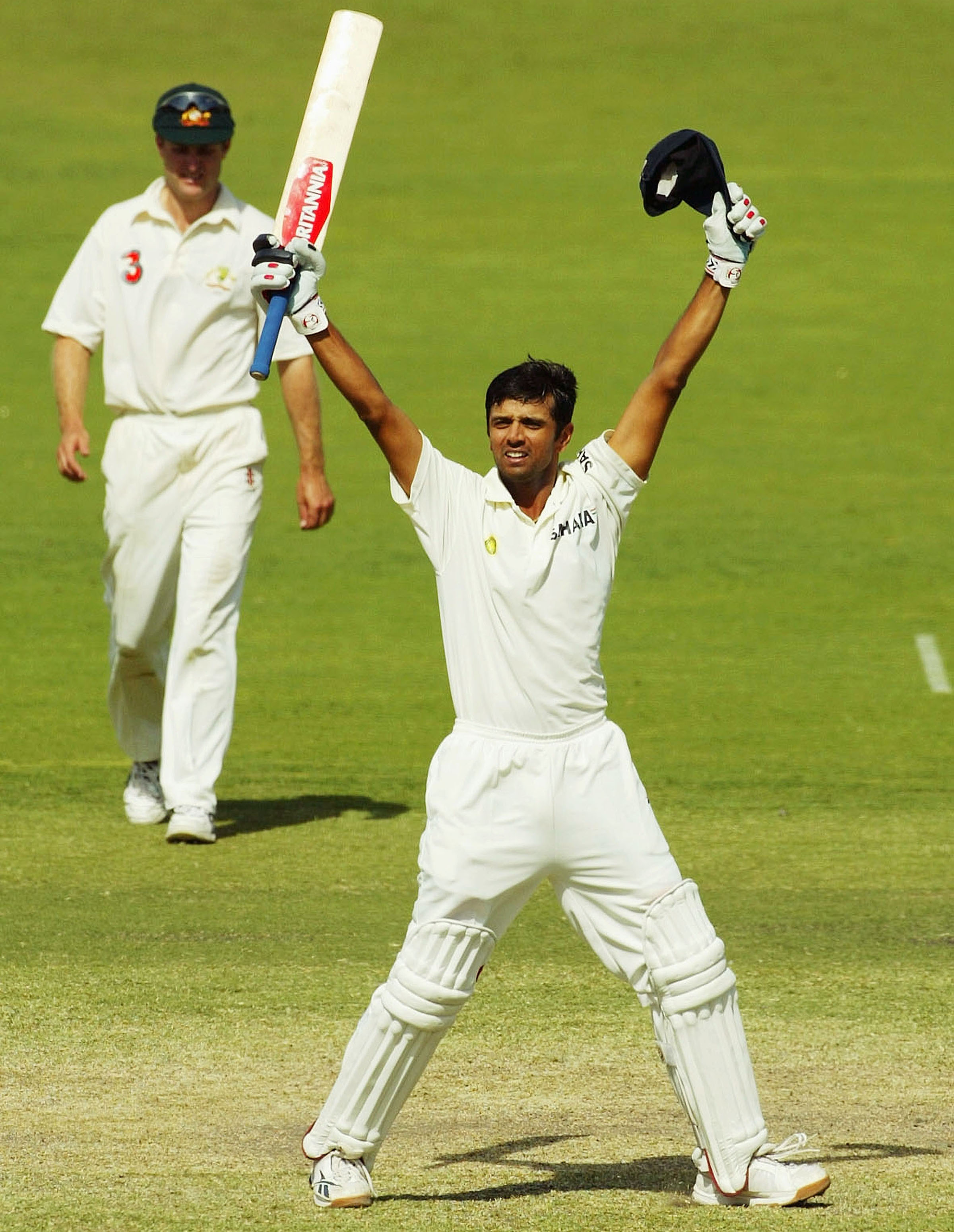Dravid celebrates India's famous win // Getty