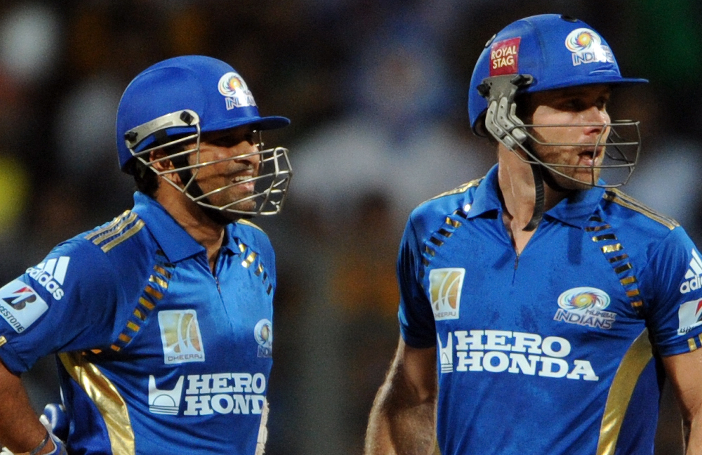 Tendulkar (right) and Blizzard (left) during the 2011 Champions League // Getty