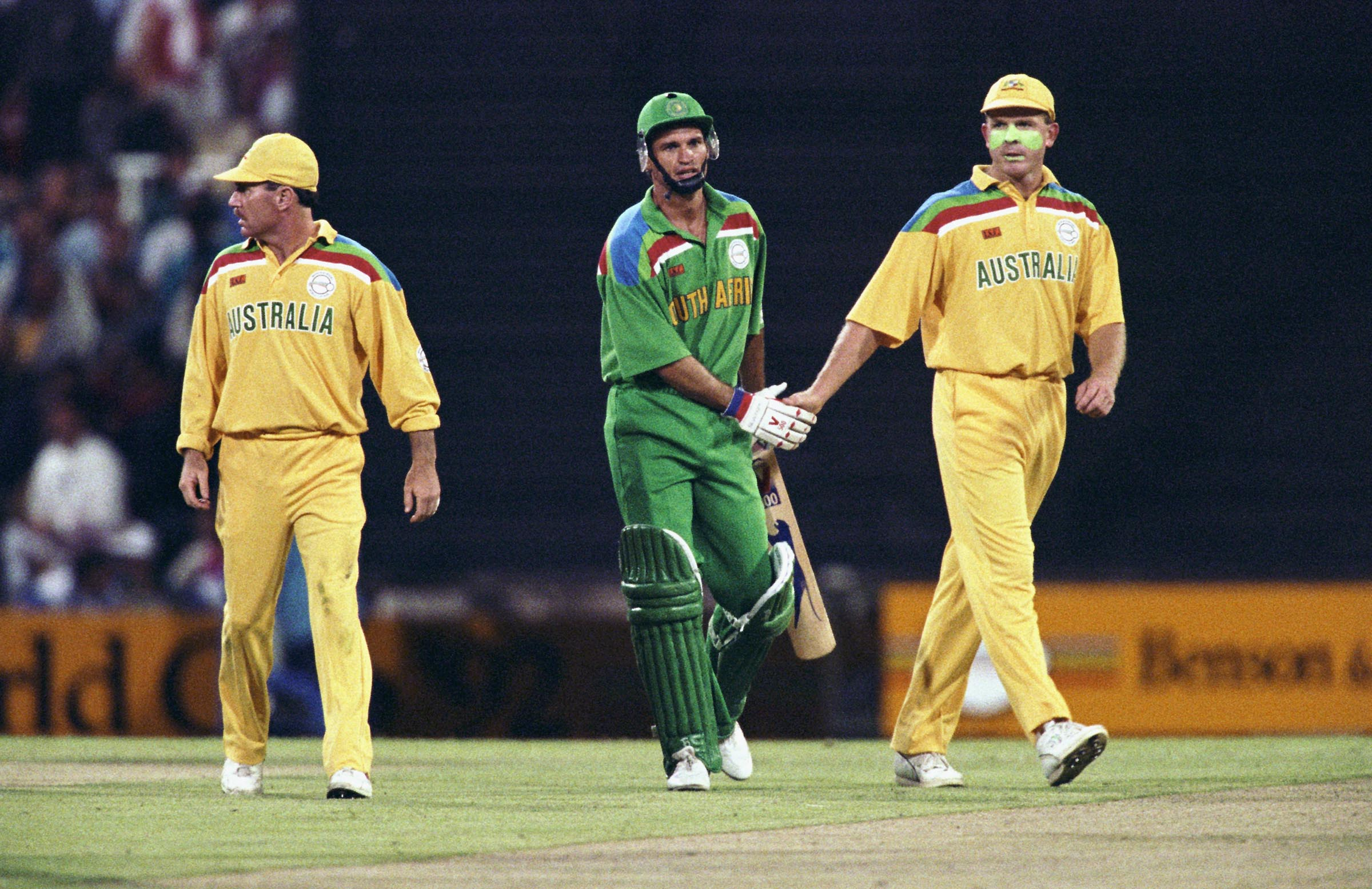 (L-R) Border, Wessels and Craig McDermott at the 1992 World Cup // Getty