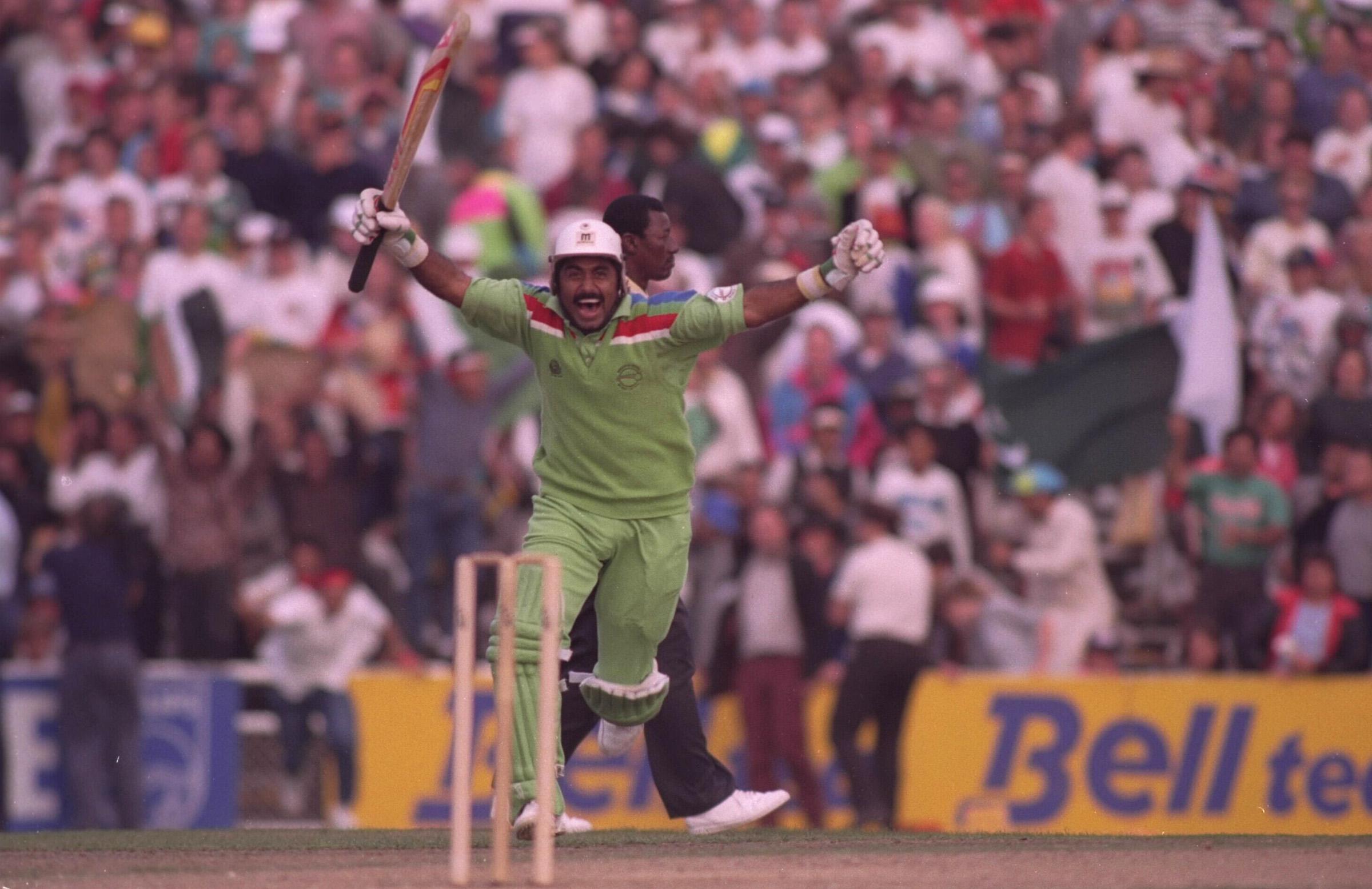 Miandad celebrates Pakistan's semi-final win // Getty