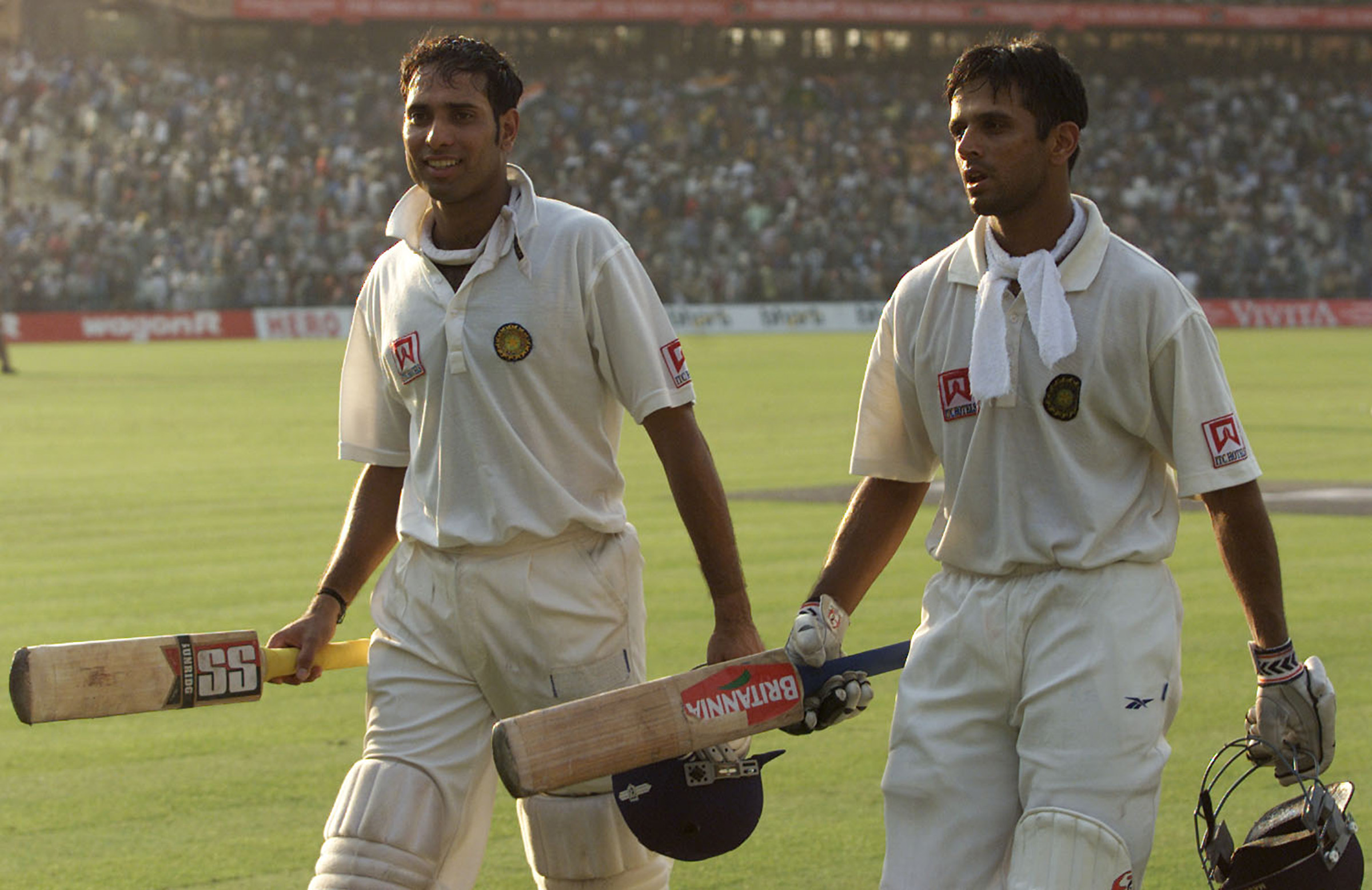 Laxman and Dravid after batting through the entire day // Getty